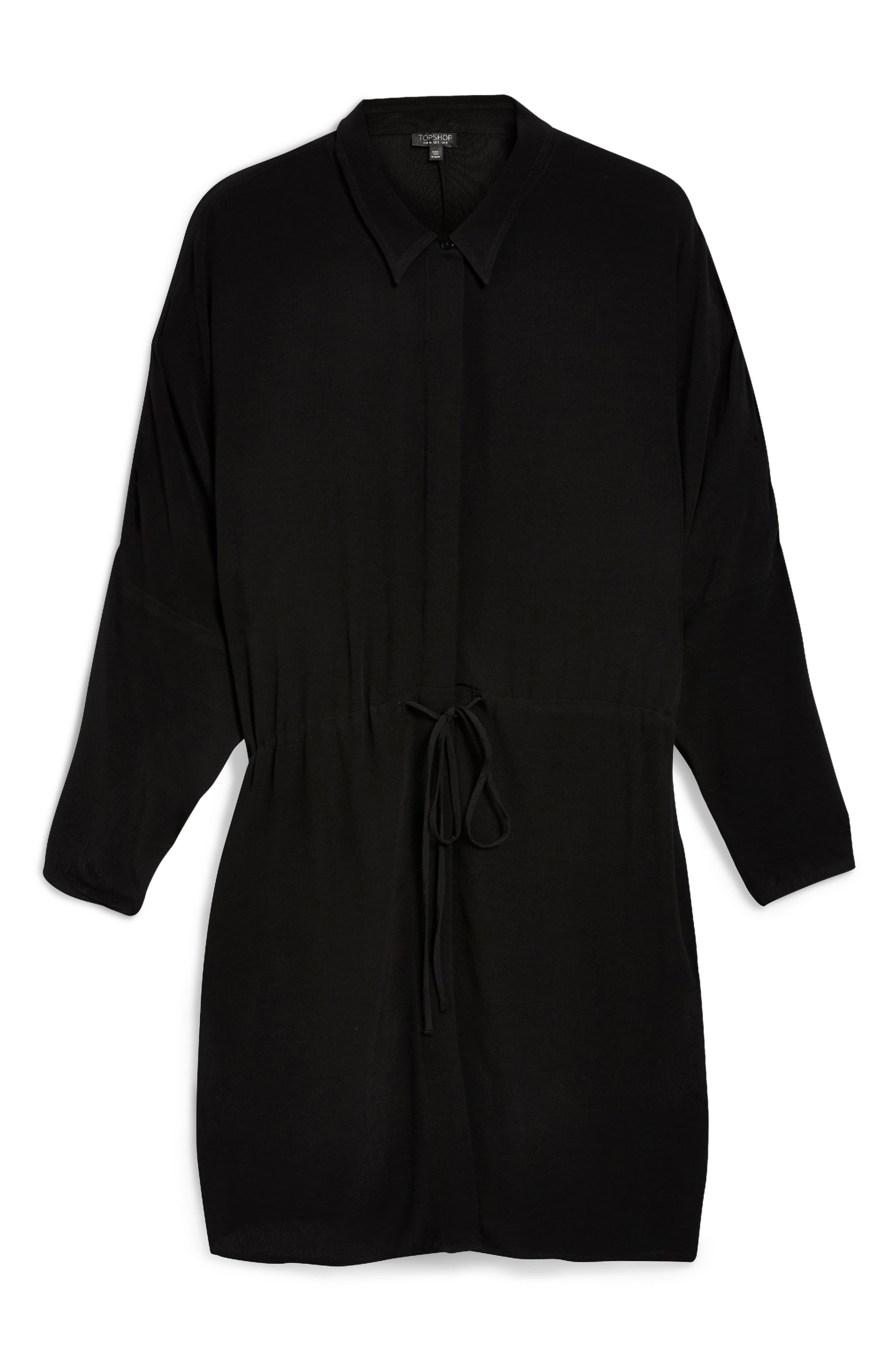 Drawstring Stripe Shirtdress,                             Alternate thumbnail 6, color,                             BLACK