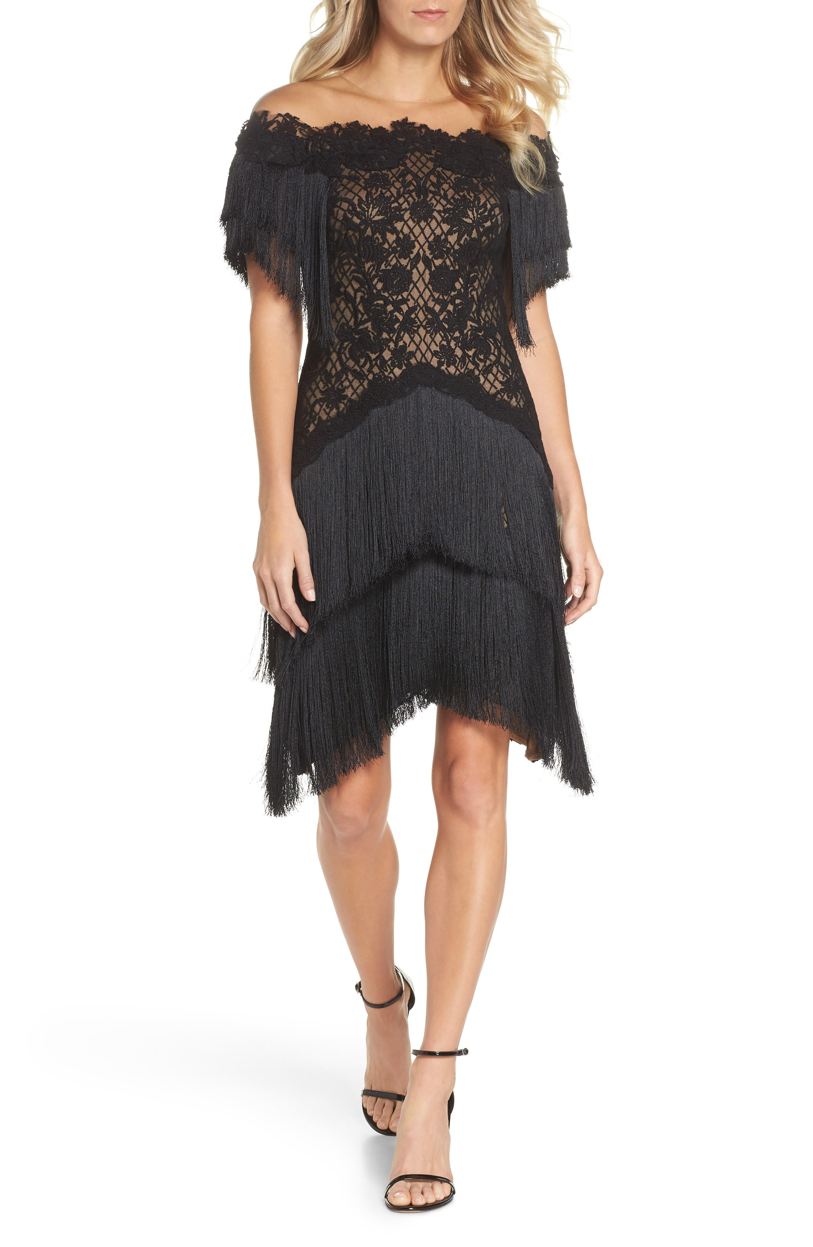 Tadashi Shoji Off The Shoulder Fringe & Embroidered Mesh Dress, Black