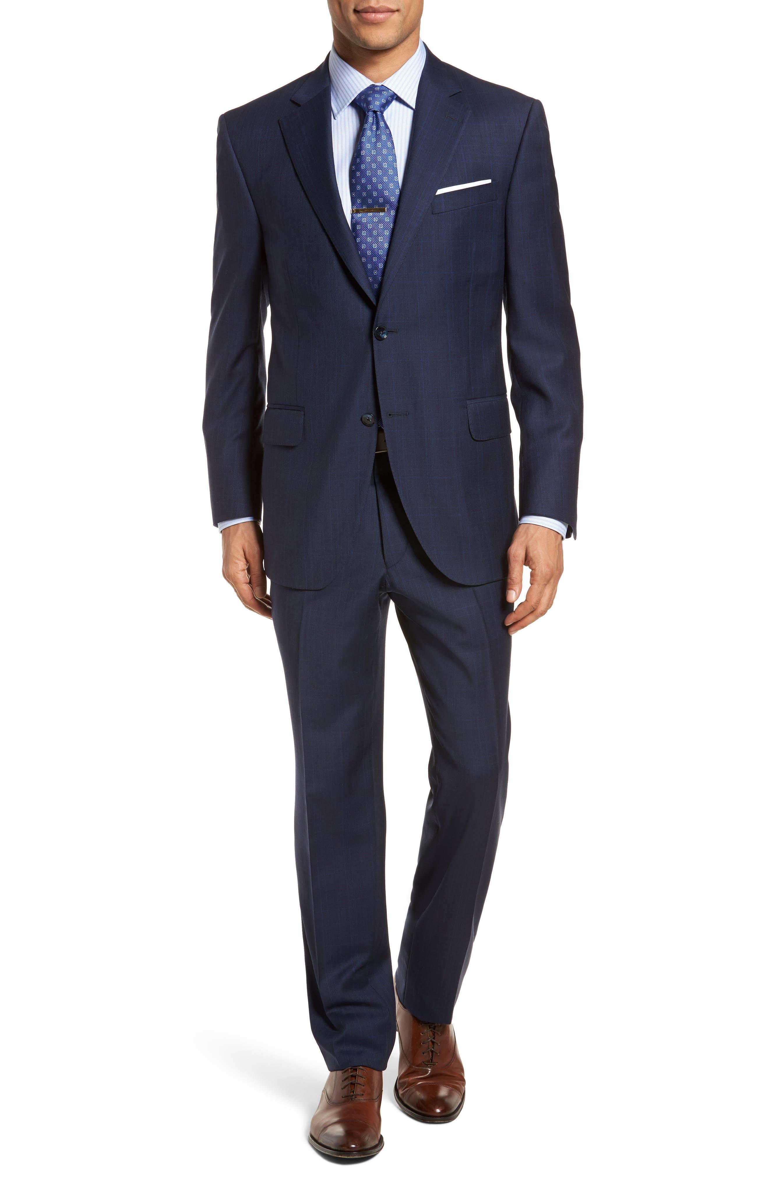 Classic Fit Plaid Wool Suit,                             Main thumbnail 1, color,                             410
