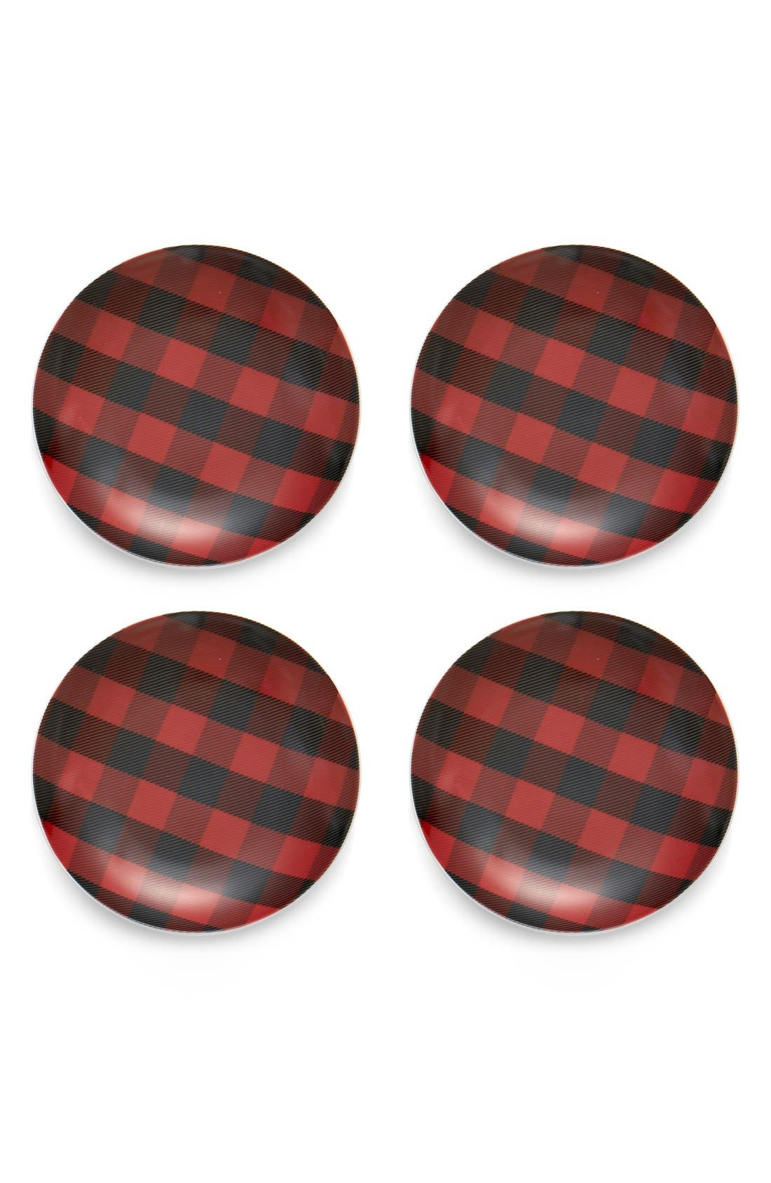 PRIMA DESIGN,                             Buffalo Check Porcelain Appetizer Plates,                             Main thumbnail 1, color,                             601