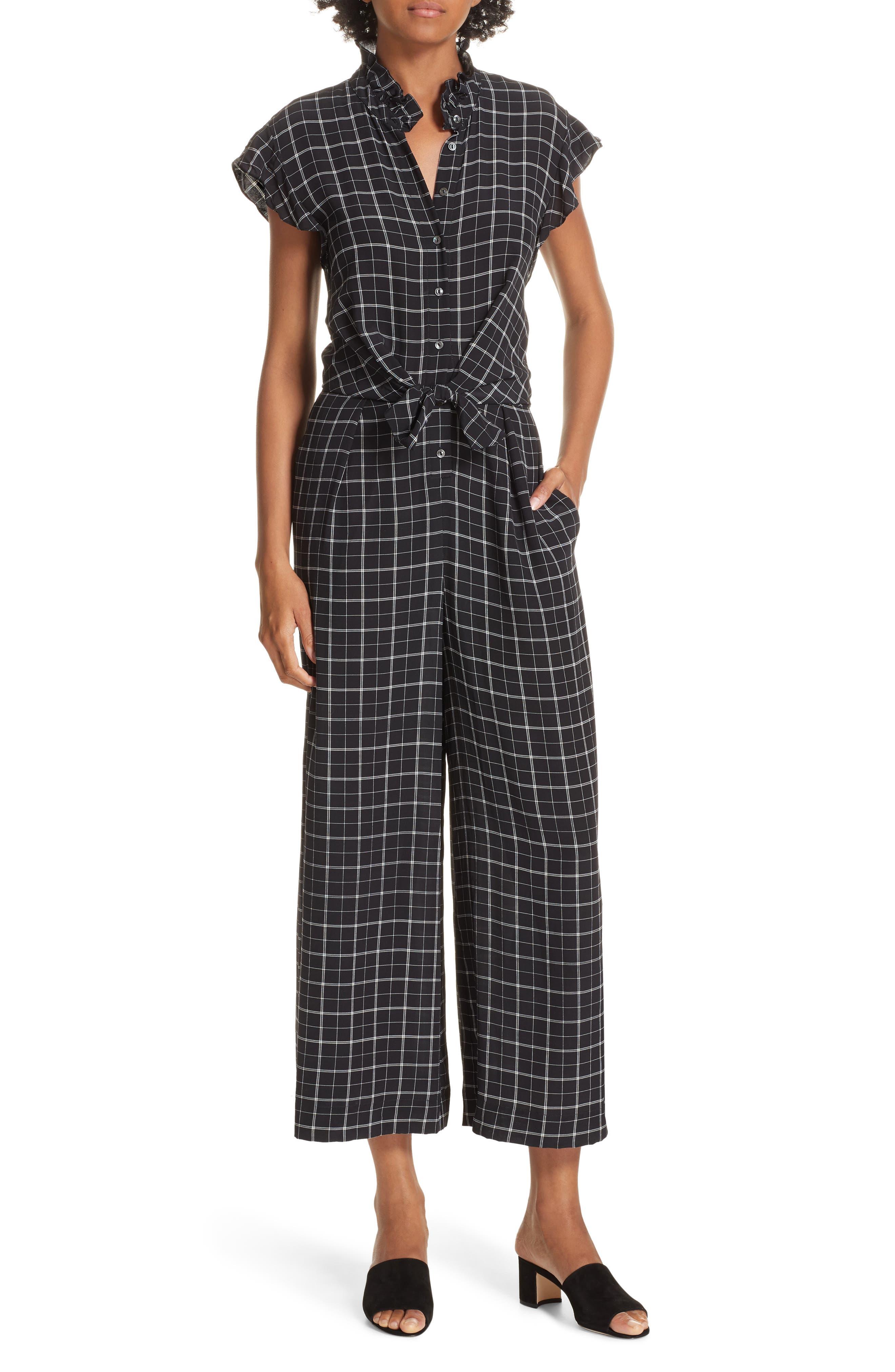 Plaid Silk Jumpsuit,                         Main,                         color, BLACK