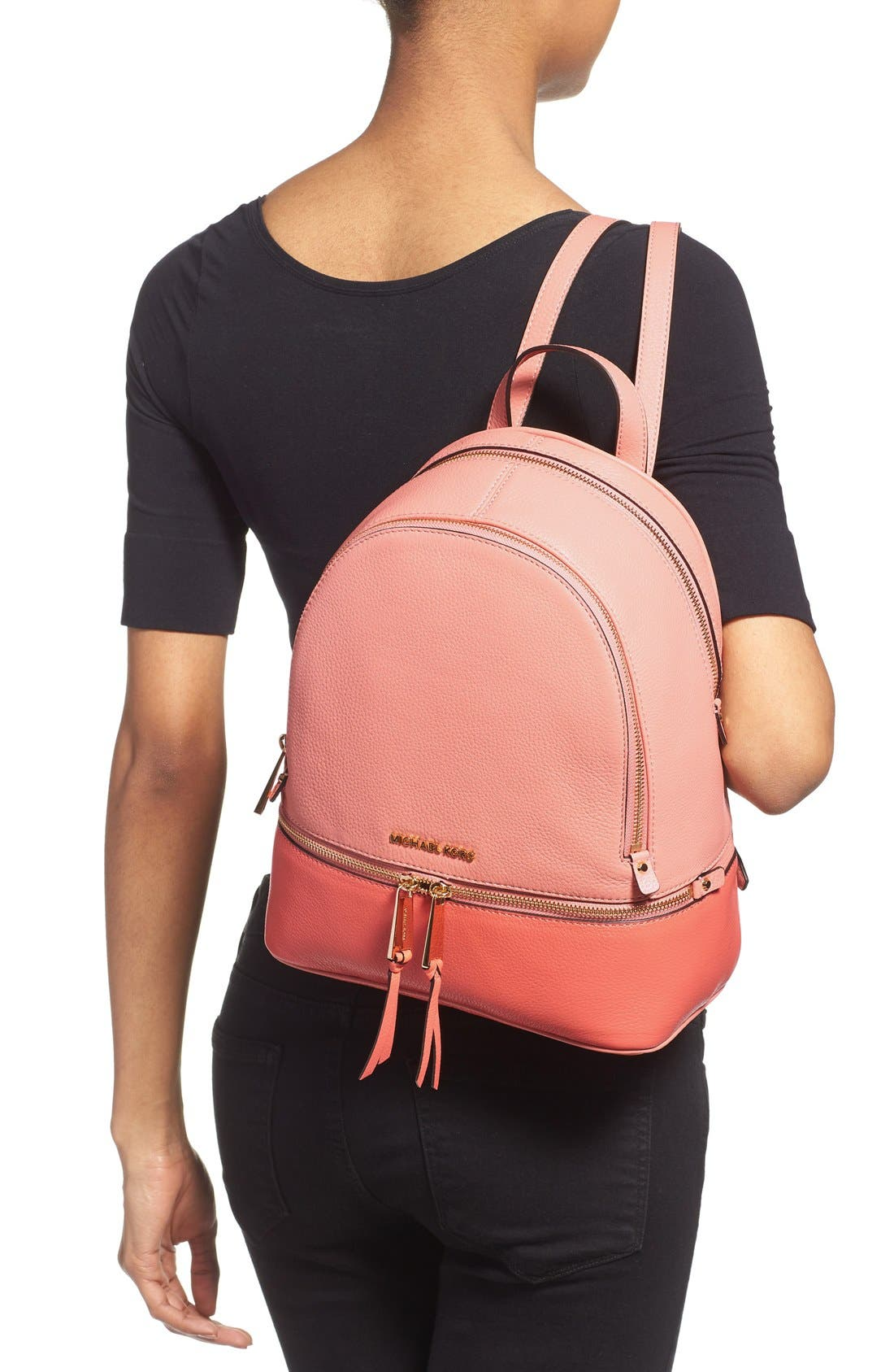 'Small Rhea' Colorblock Leather Backpack,                             Alternate thumbnail 4, color,                             950