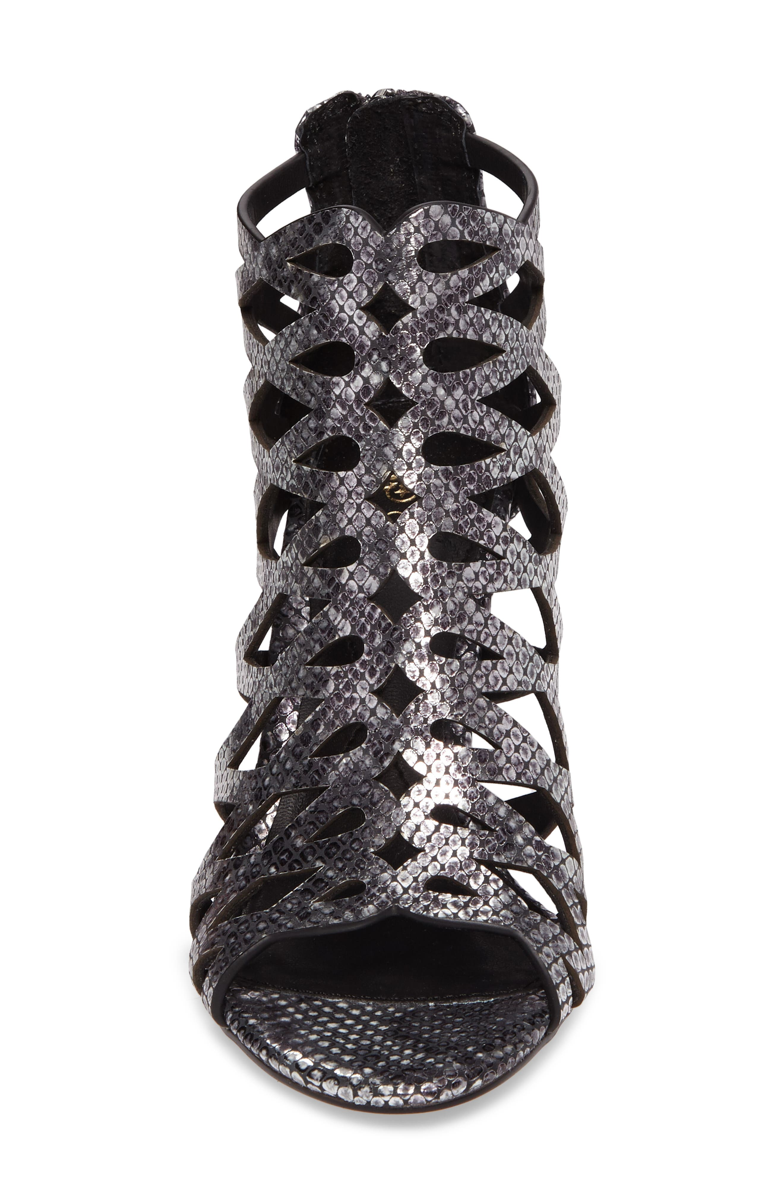 Debra Cage Sandal,                             Alternate thumbnail 4, color,                             ANTHRACITE SNAKE PRINT LEATHER