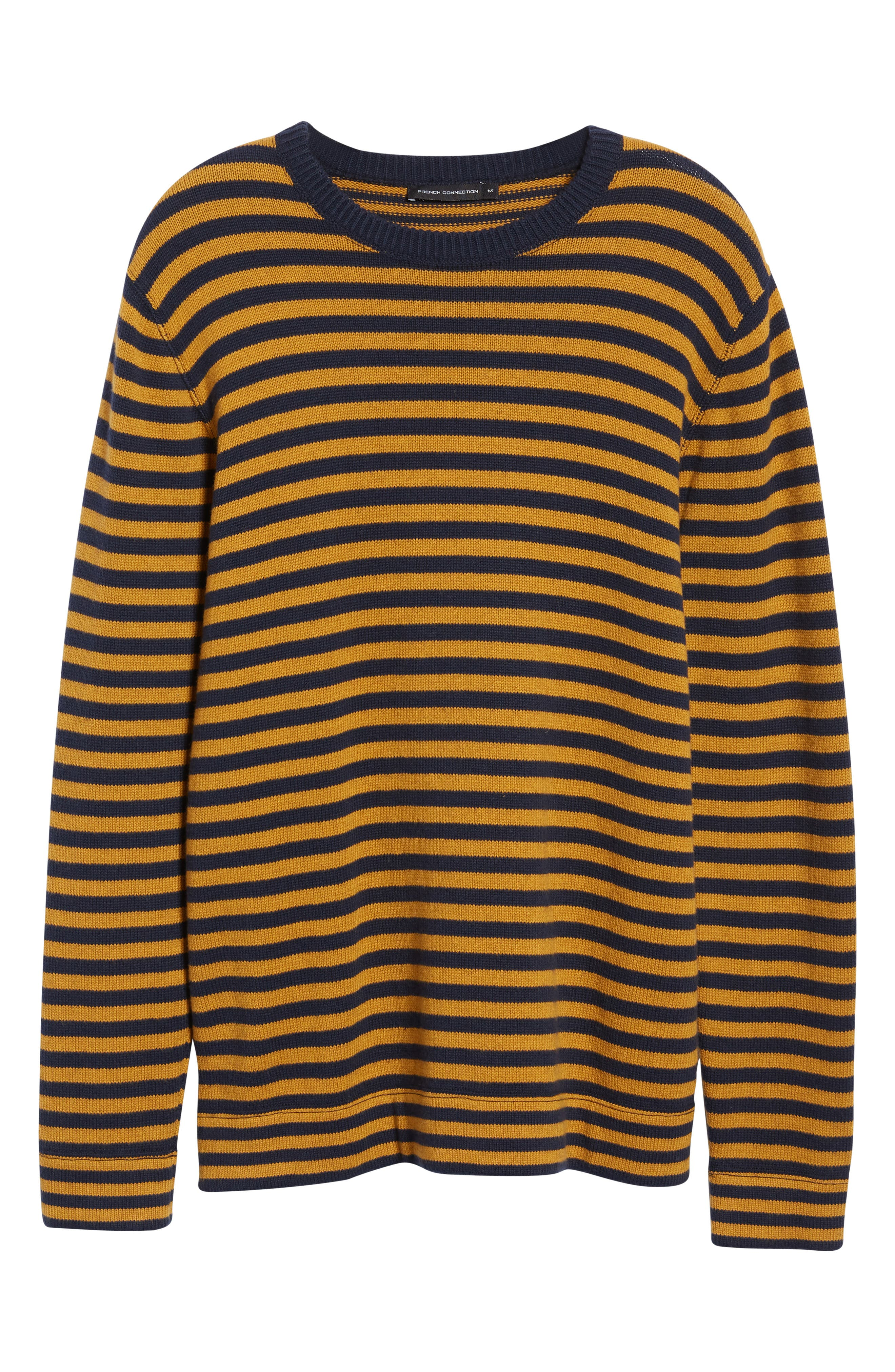 Stripe Cotton & Wool Sweater,                             Alternate thumbnail 6, color,                             CALLUNA YELLOW UTILITY BLUE