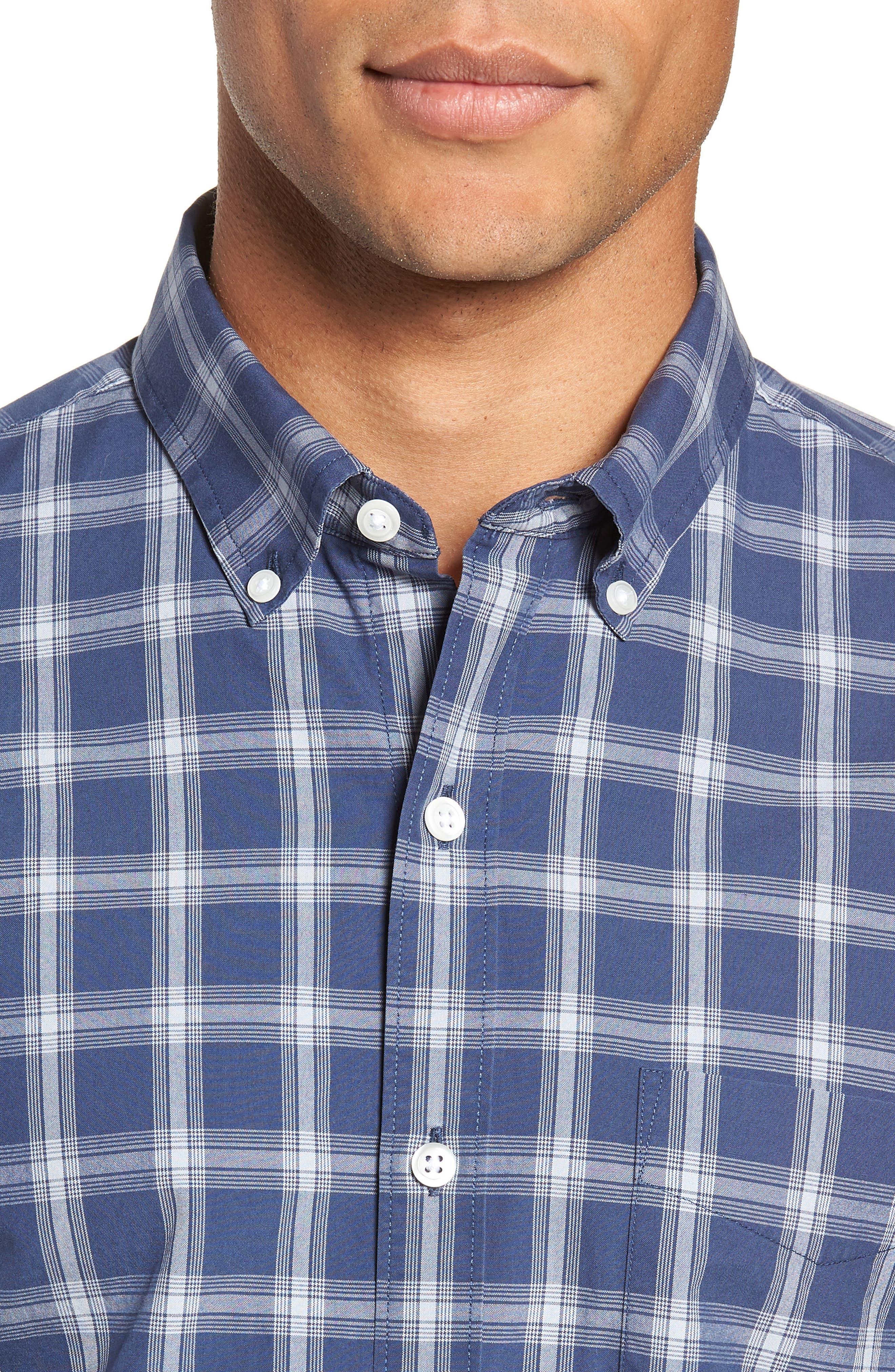 Washed Button Down Slim Fit Plaid Sport Shirt,                             Alternate thumbnail 2, color,                             ARID BLUE