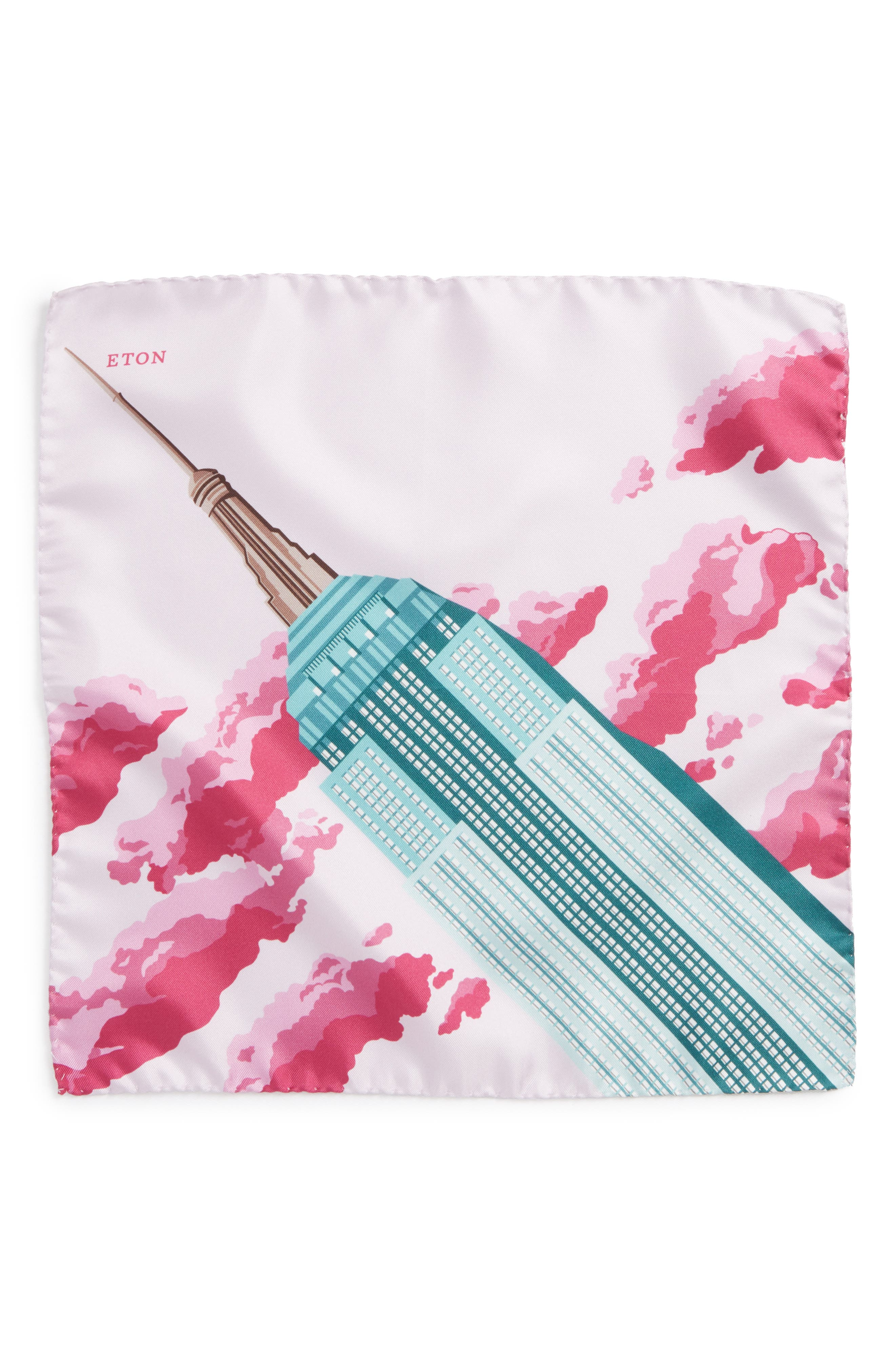 Empire State Building Silk Pocket Square,                             Alternate thumbnail 2, color,                             GREEN