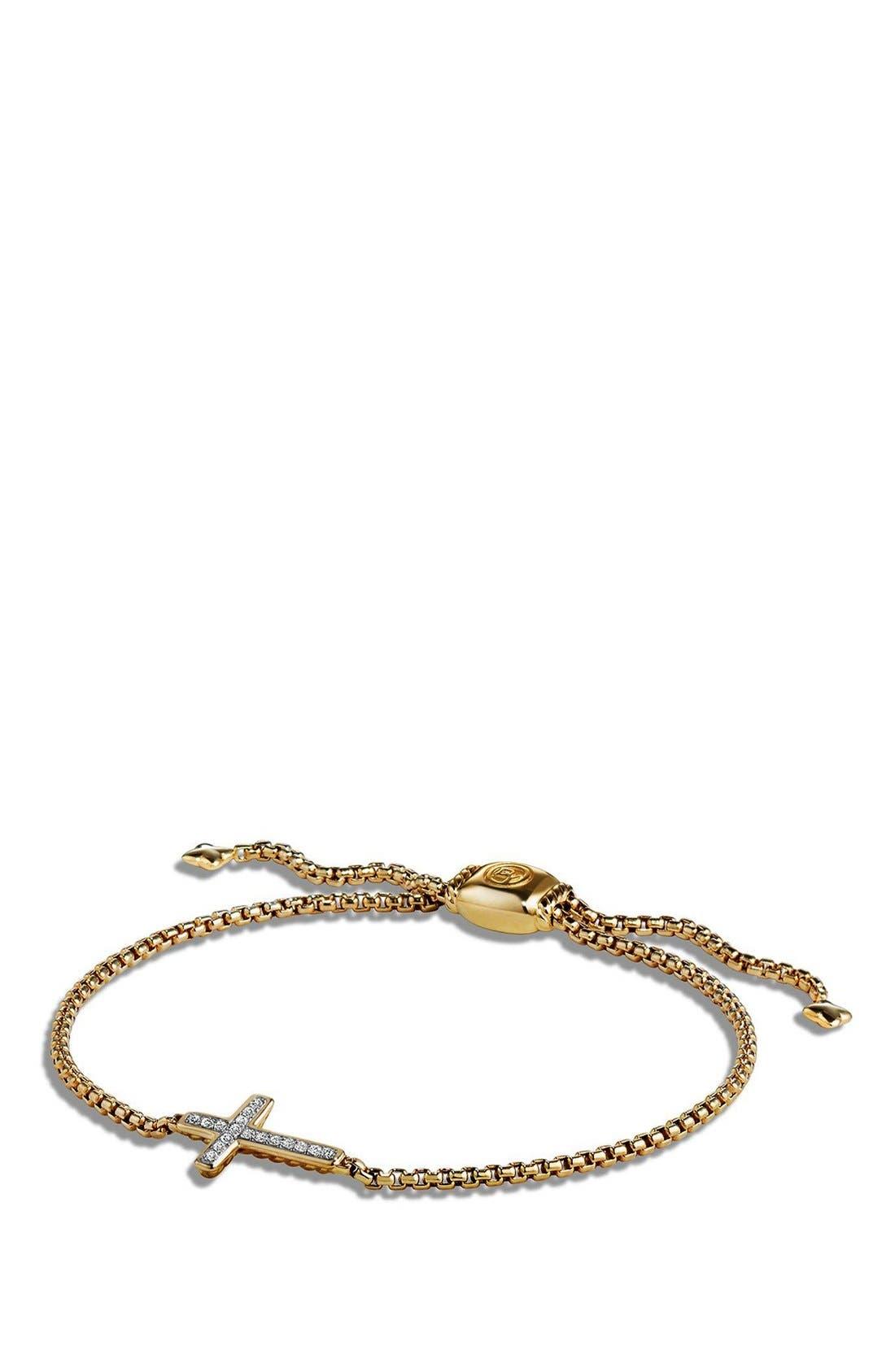 'Petite Pavé' Cross Bracelet with Diamonds in 18K Gold,                             Main thumbnail 1, color,                             GOLD