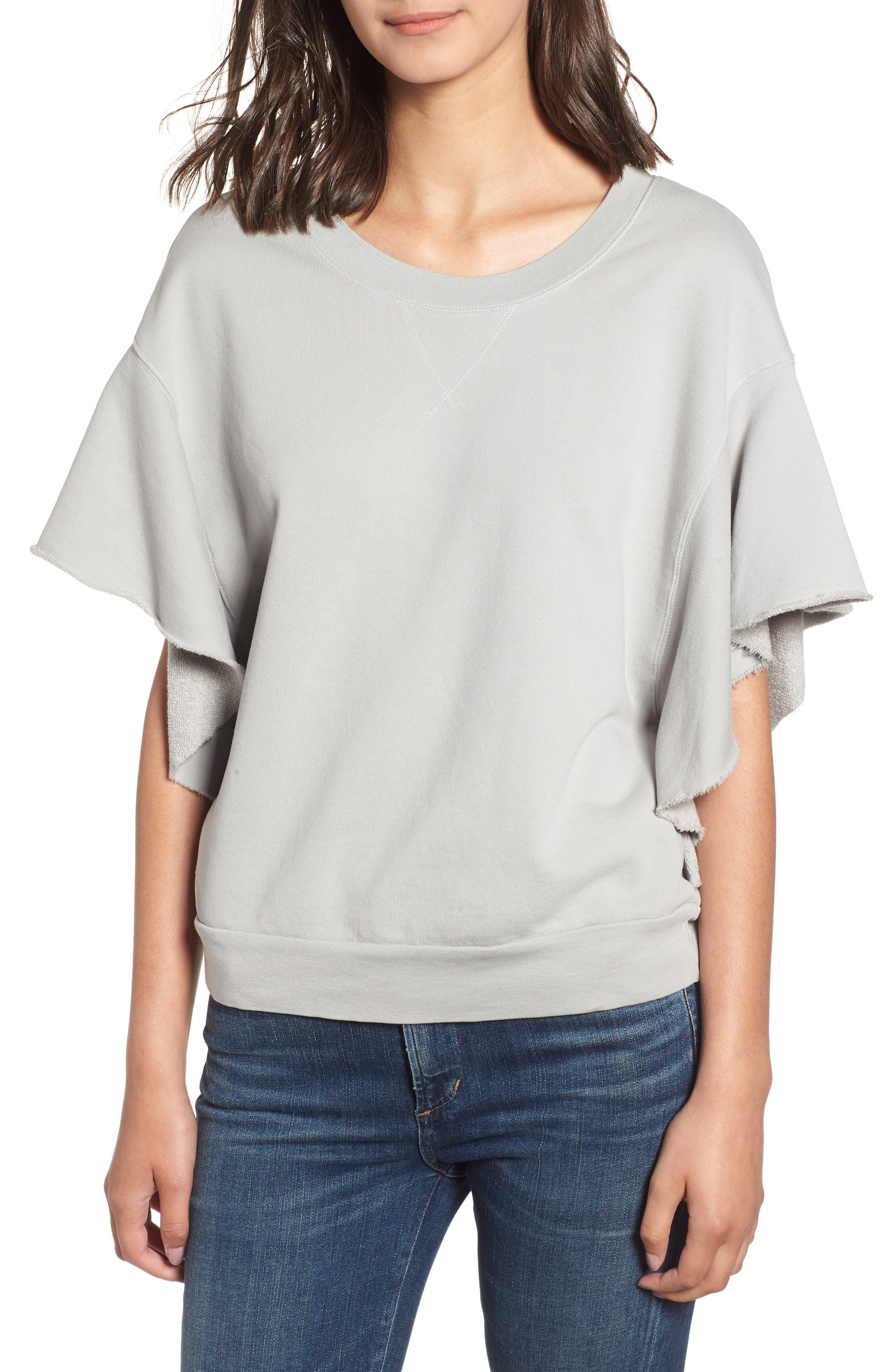 Ruffle Sweatshirt,                         Main,                         color, SILVER