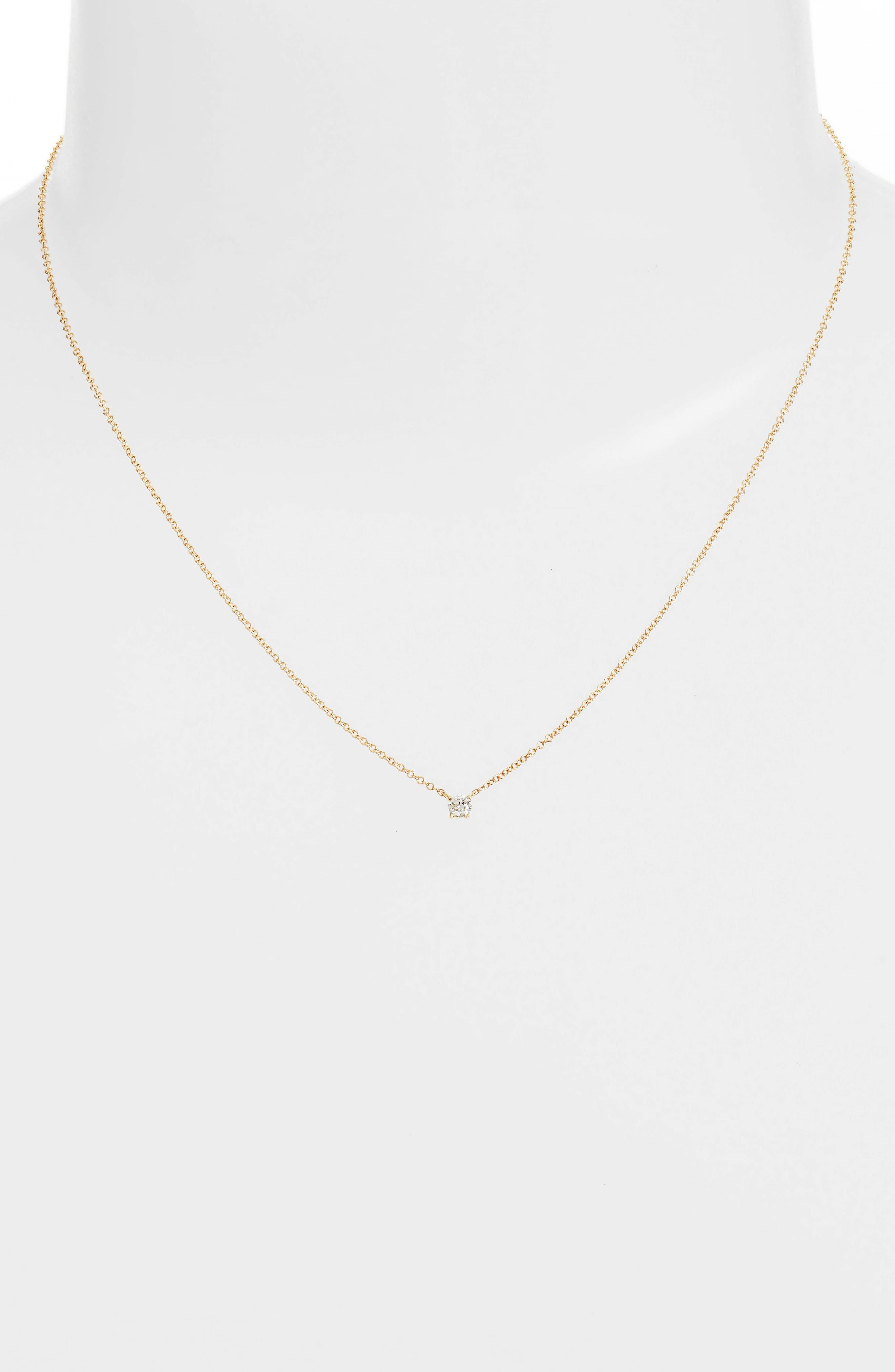 Petite Liora Diamond Solitaire Pendant Necklace,                             Alternate thumbnail 2, color,                             YELLOW GOLD
