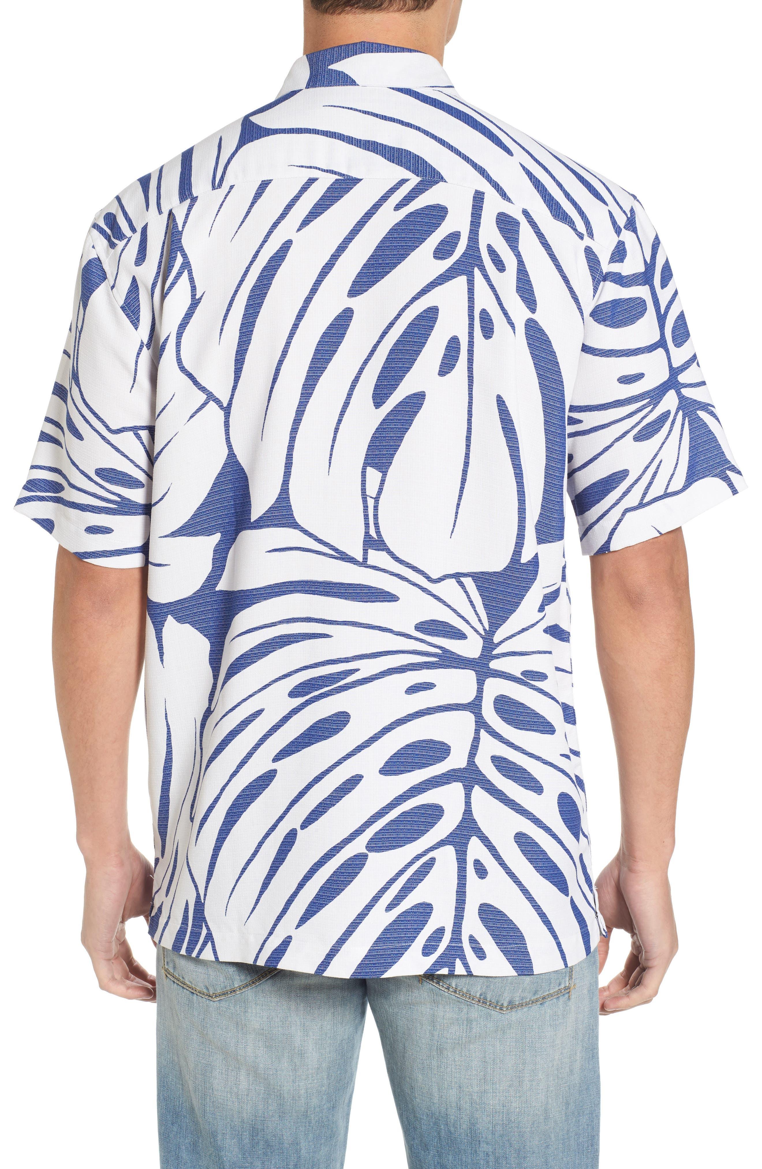 Syri's Leaf Classic Fit Print Sport Shirt,                             Alternate thumbnail 4, color,