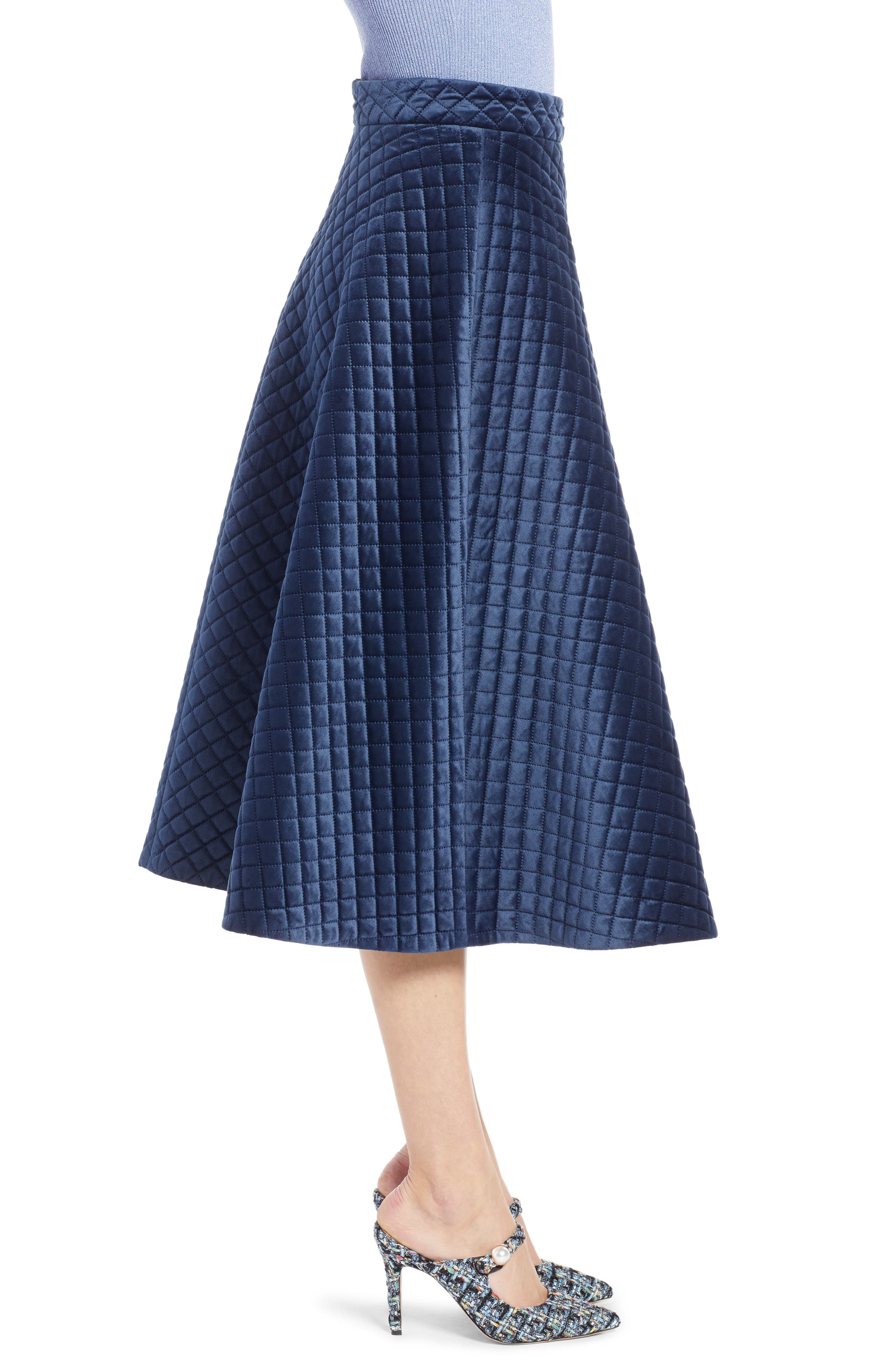 x Atlantic-Pacific Quilted Velour Circle Midi Skirt,                             Alternate thumbnail 4, color,                             NAVY BLAZER