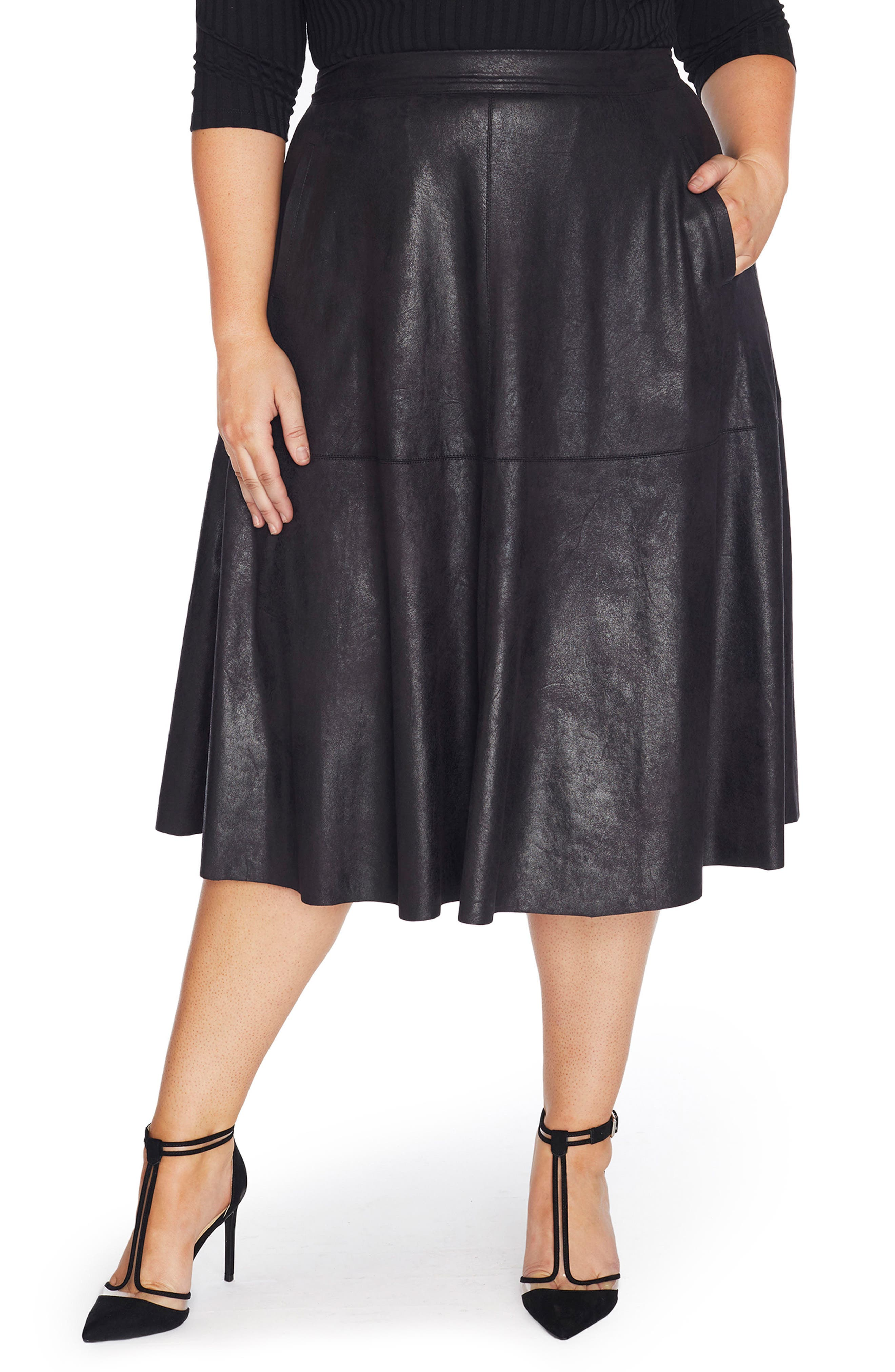Stretch Faux Leather A-Line Skirt,                             Main thumbnail 1, color,                             002