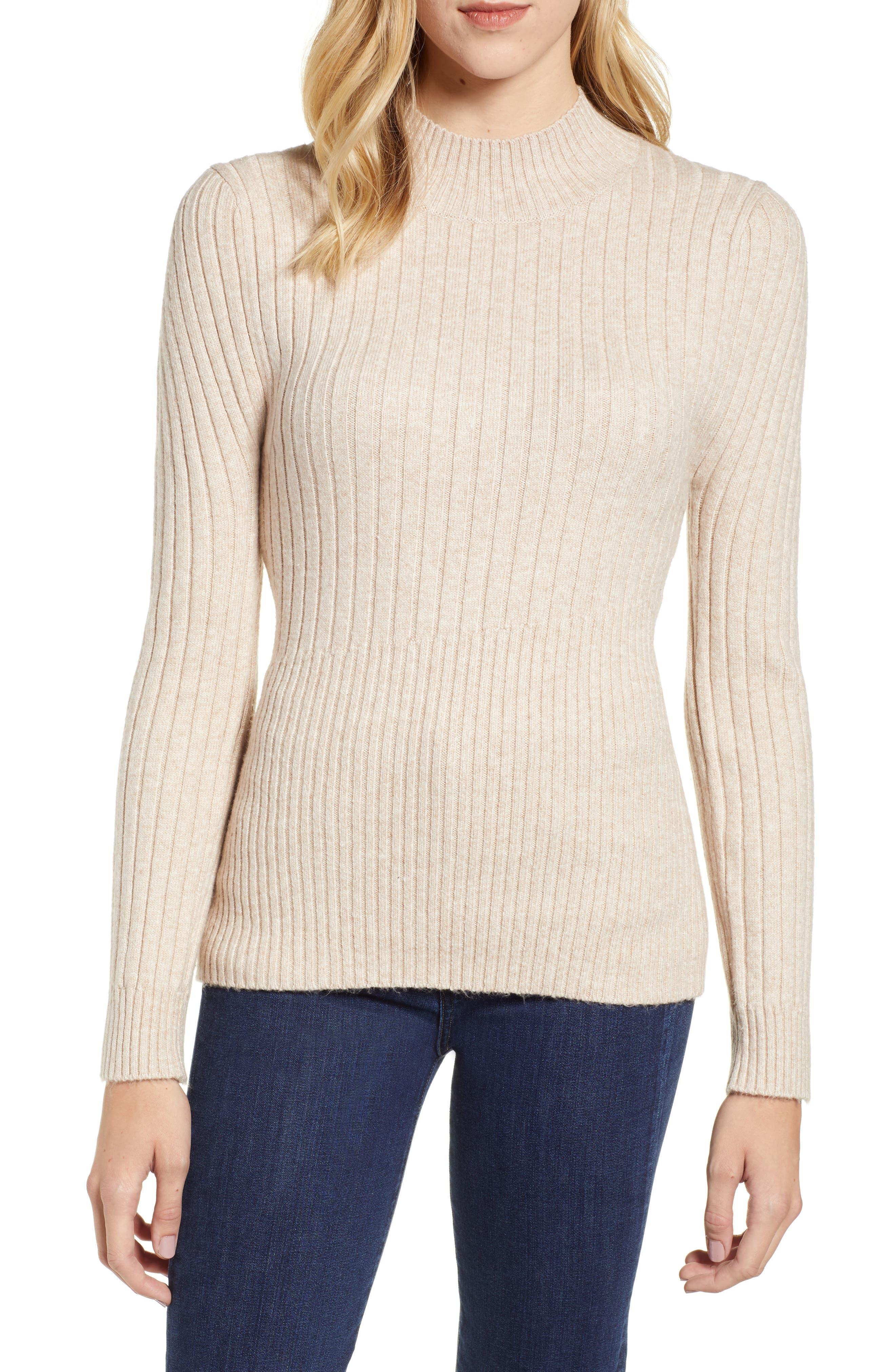 Mixed Rib Sweater,                             Main thumbnail 1, color,                             WARM OATMEAL HEATHER