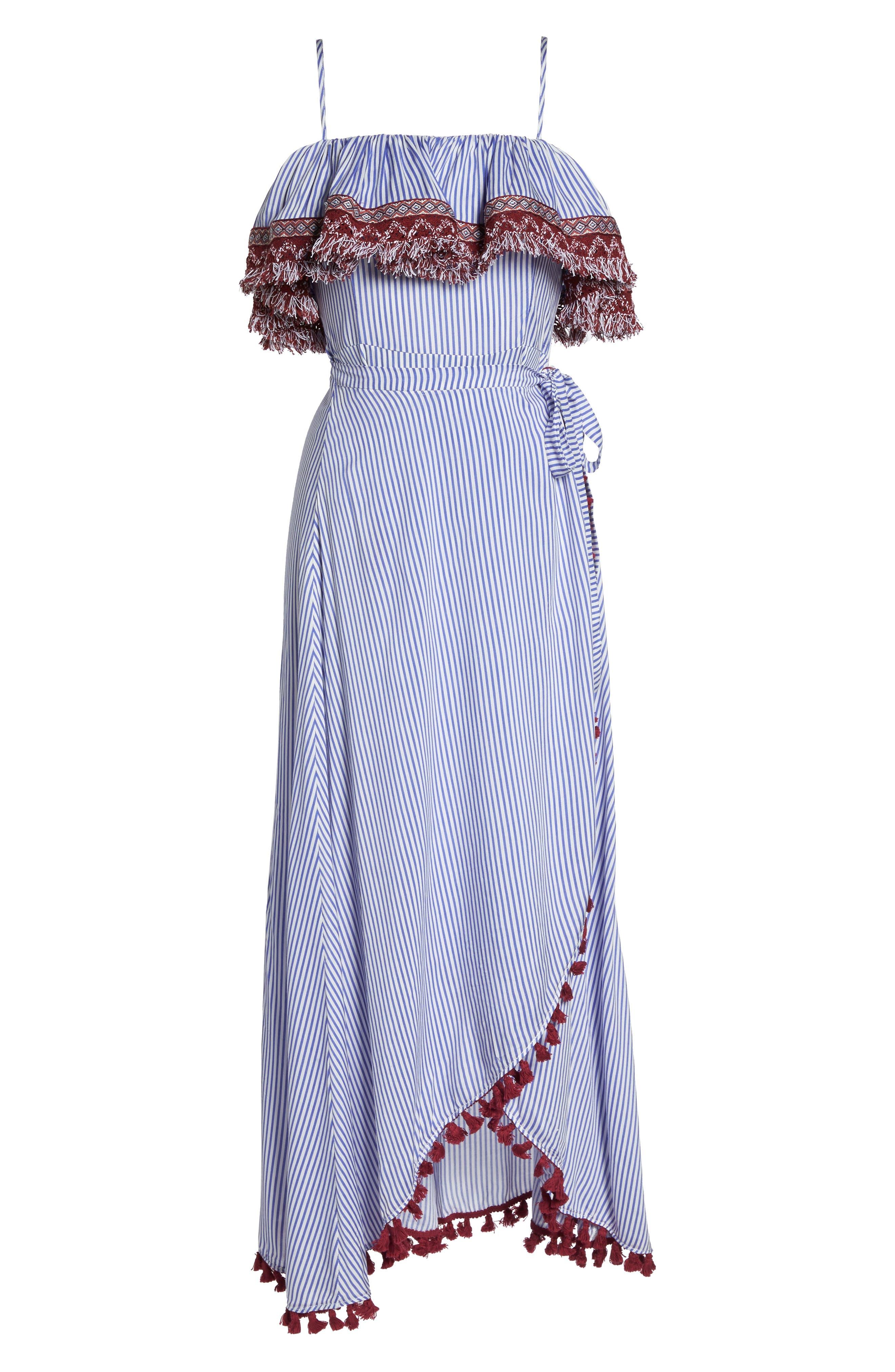 Stripe Ruffle Maxi Dress,                             Alternate thumbnail 7, color,