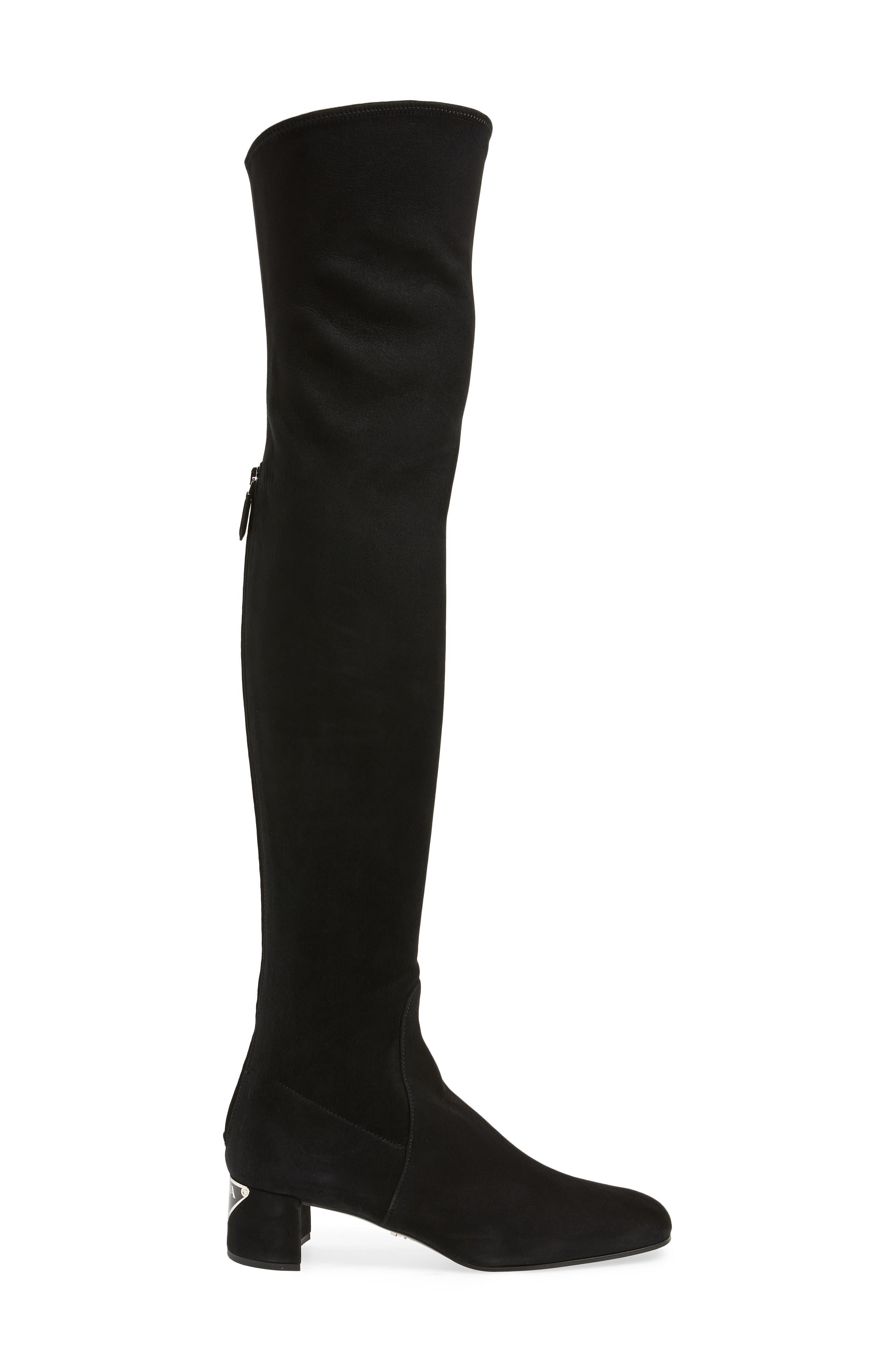 Block Heel Over the Knee Boot,                             Alternate thumbnail 3, color,                             BLACK