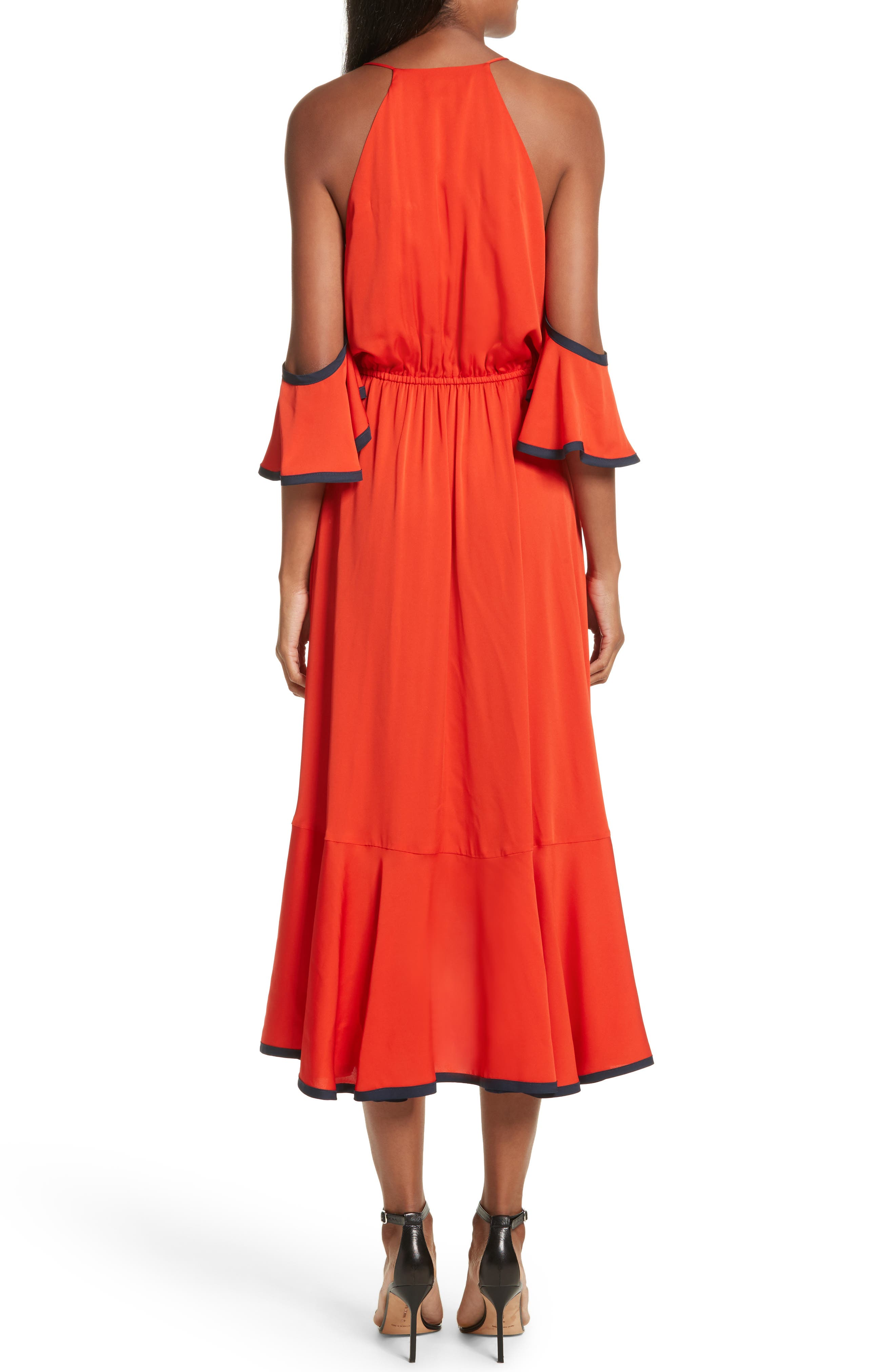 Bryce Ruffle Stretch Silk Fit & Flare Dress,                             Alternate thumbnail 2, color,                             635