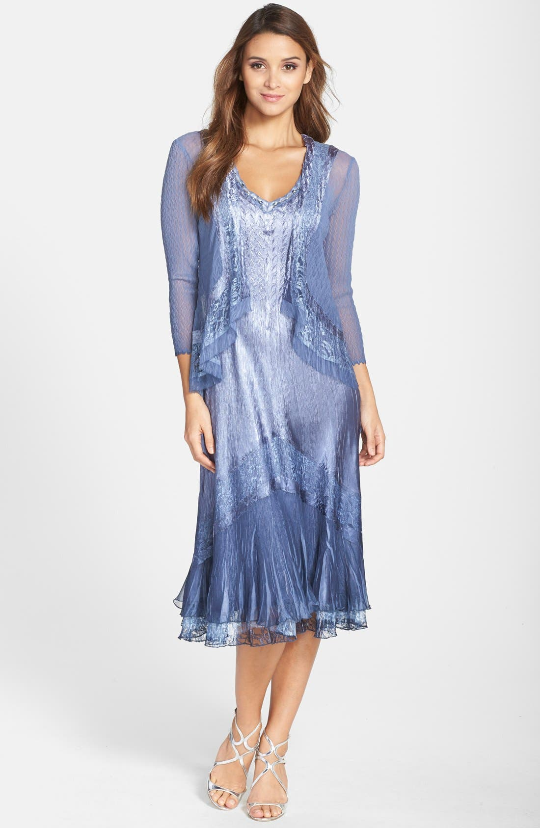 Komarov Embellished Lace Trim Charmeuse Dress & Jacket