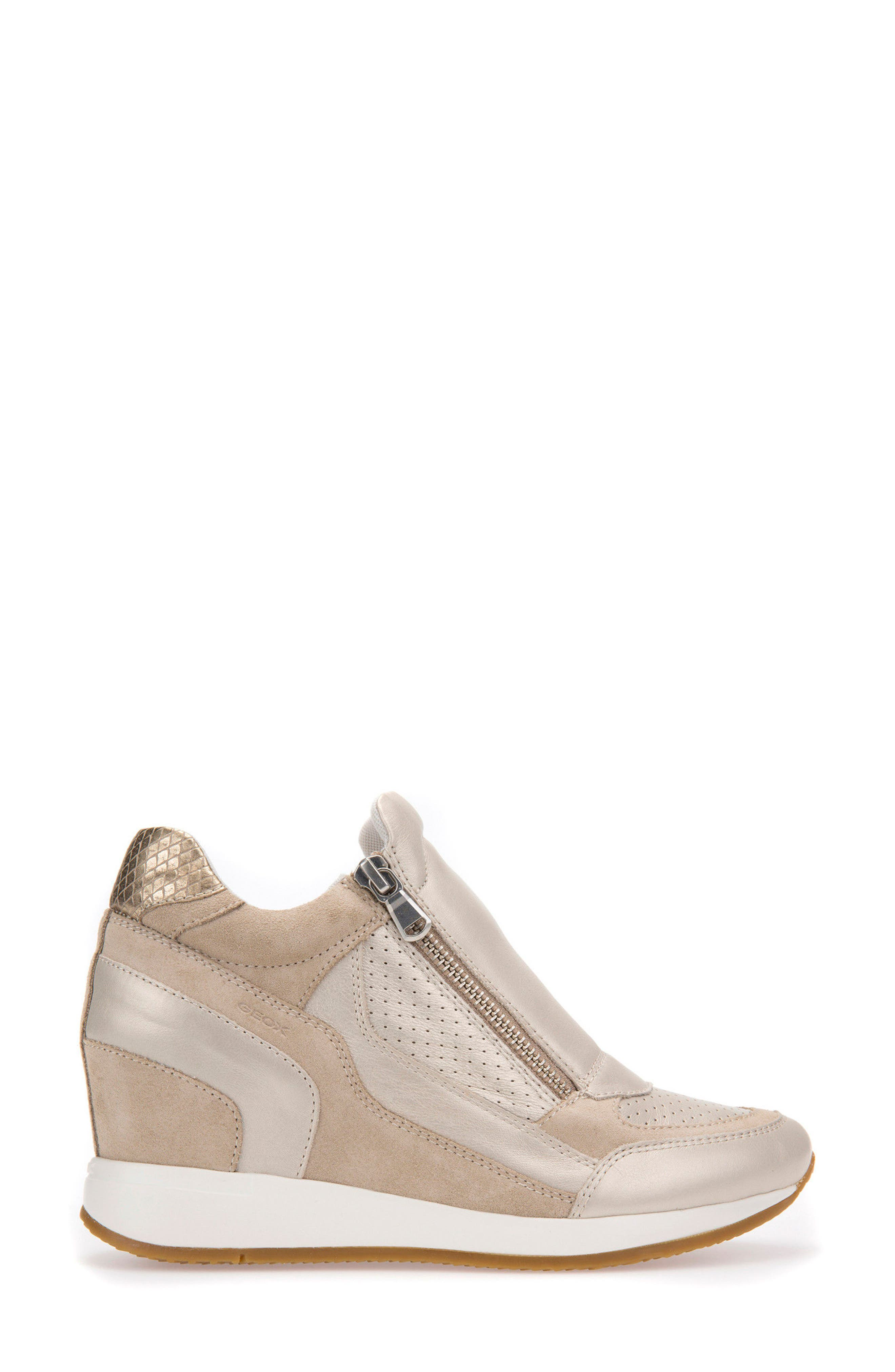 Nydame Wedge Sneaker,                             Alternate thumbnail 3, color,                             PLATINUM LEATHER