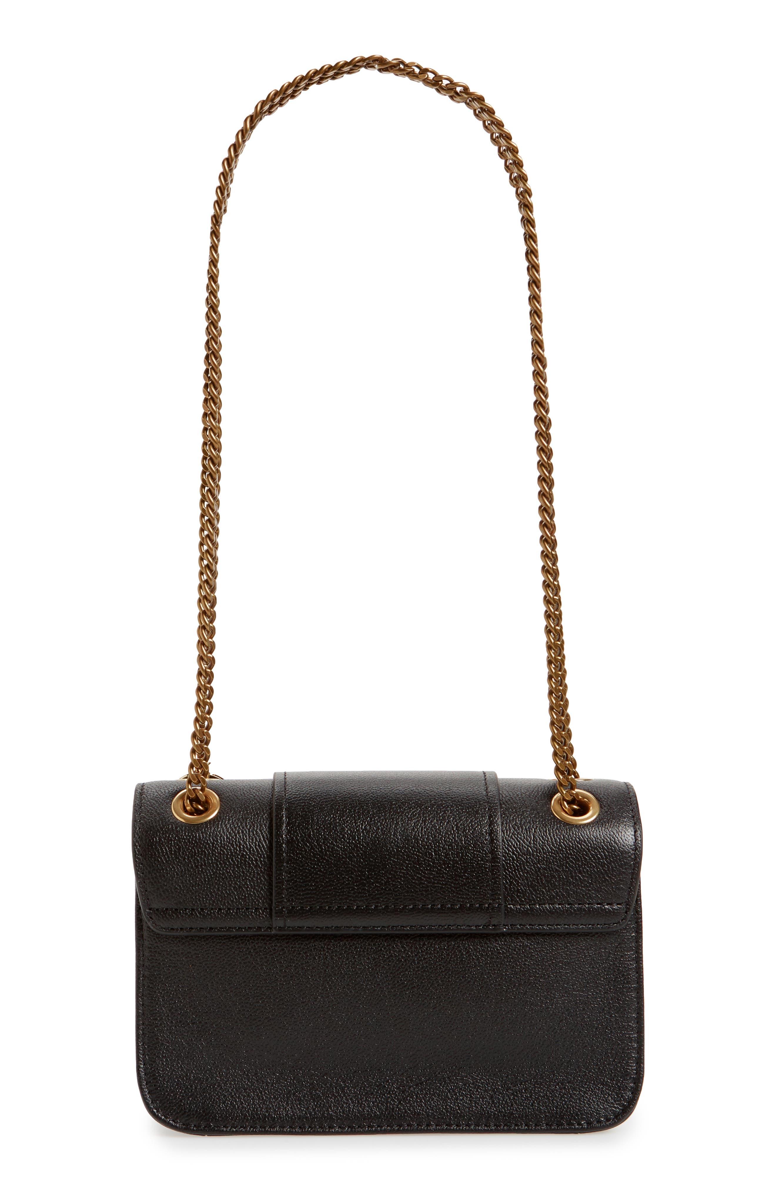 Hopper Leather Shoulder Bag,                             Alternate thumbnail 3, color,                             001