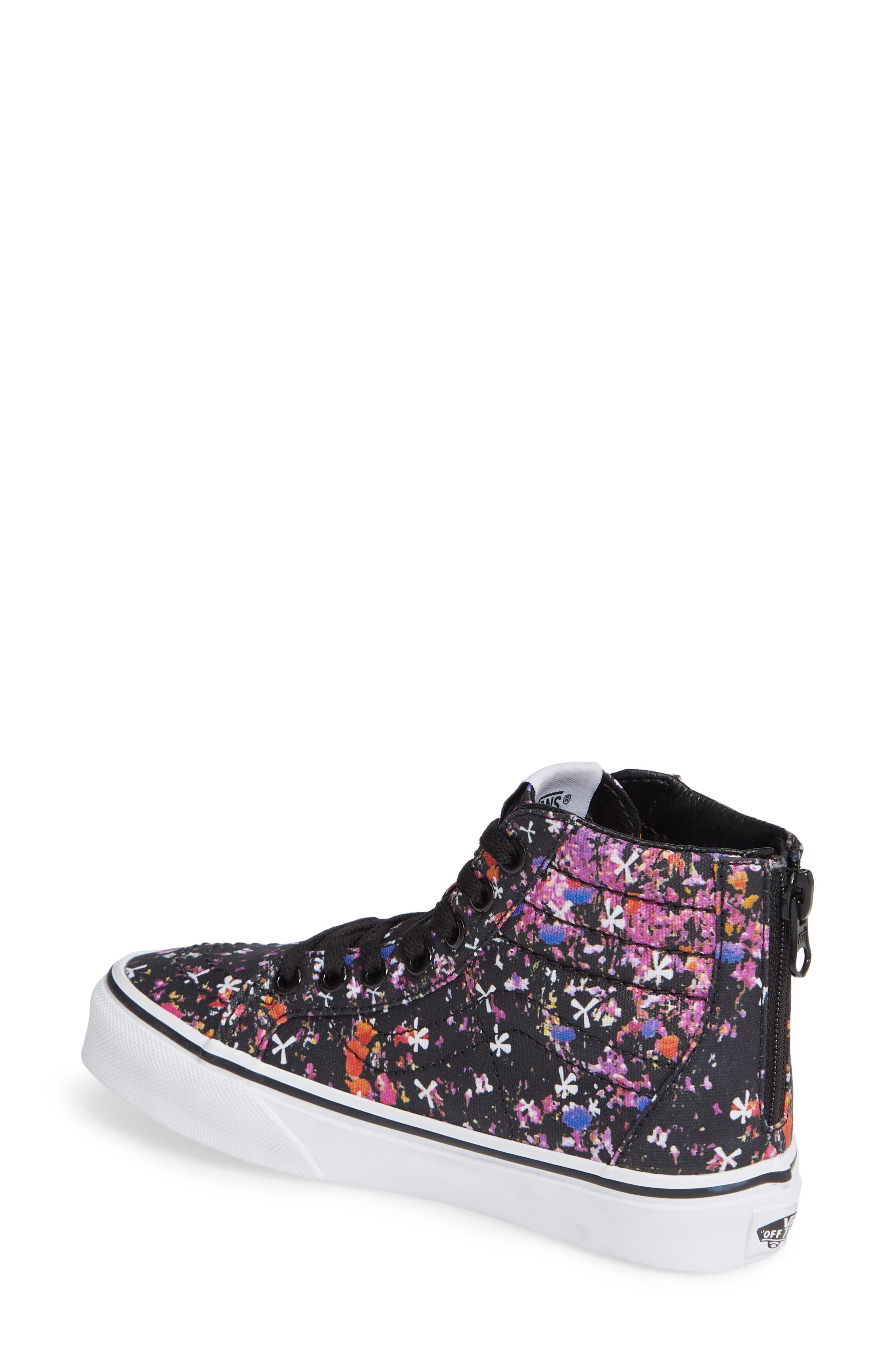 Sk8-Hi Zip Sneaker,                             Alternate thumbnail 2, color,                             BLACK/ TRUE WHITE