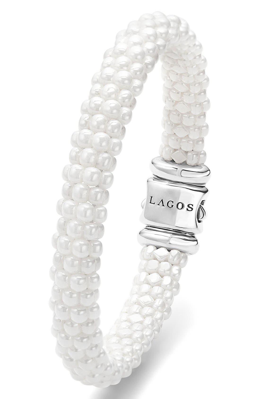 'White Caviar' Rope Bracelet,                             Alternate thumbnail 5, color,                             WHITE CAVIAR
