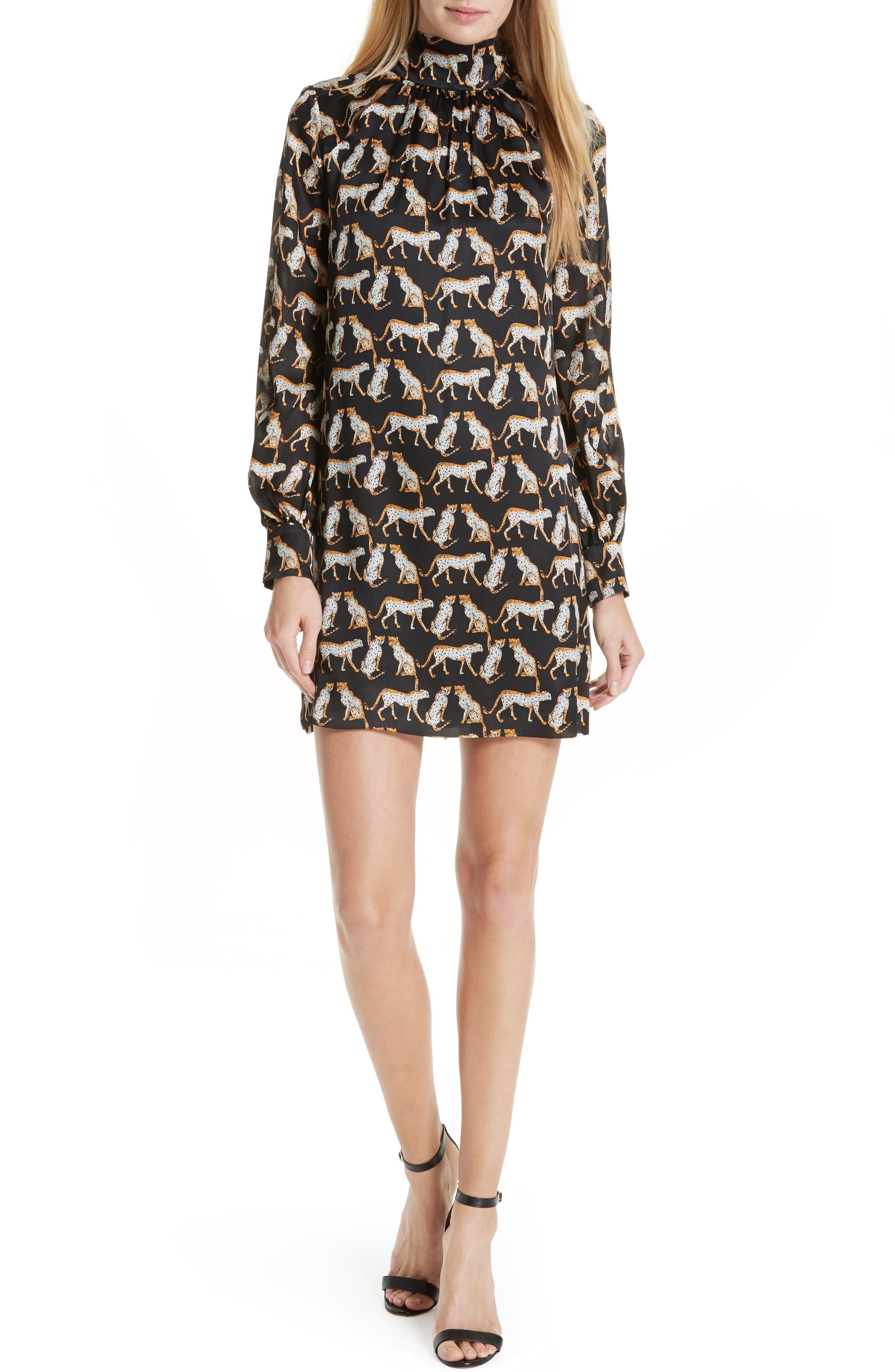 MILLY Cheetah Print High Neck Silk Dress, Main, color, 001