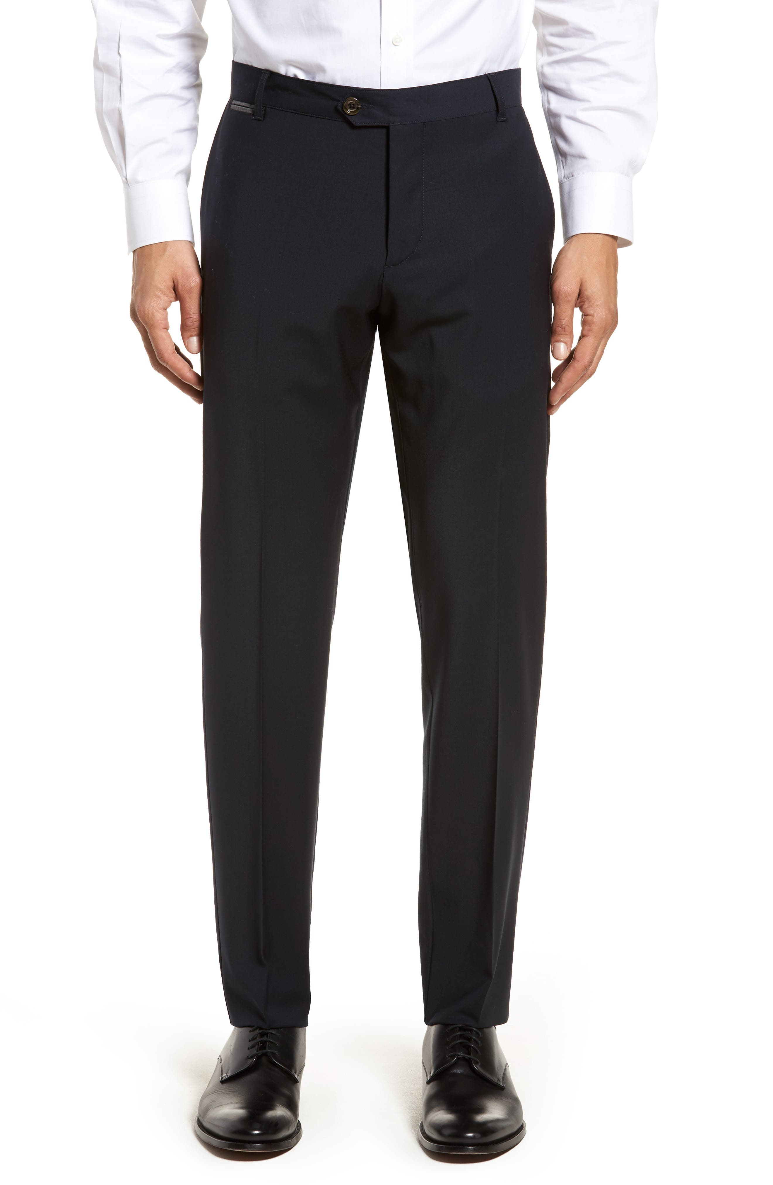 Flat Front Stretch Solid Wool Trousers,                             Main thumbnail 2, color,