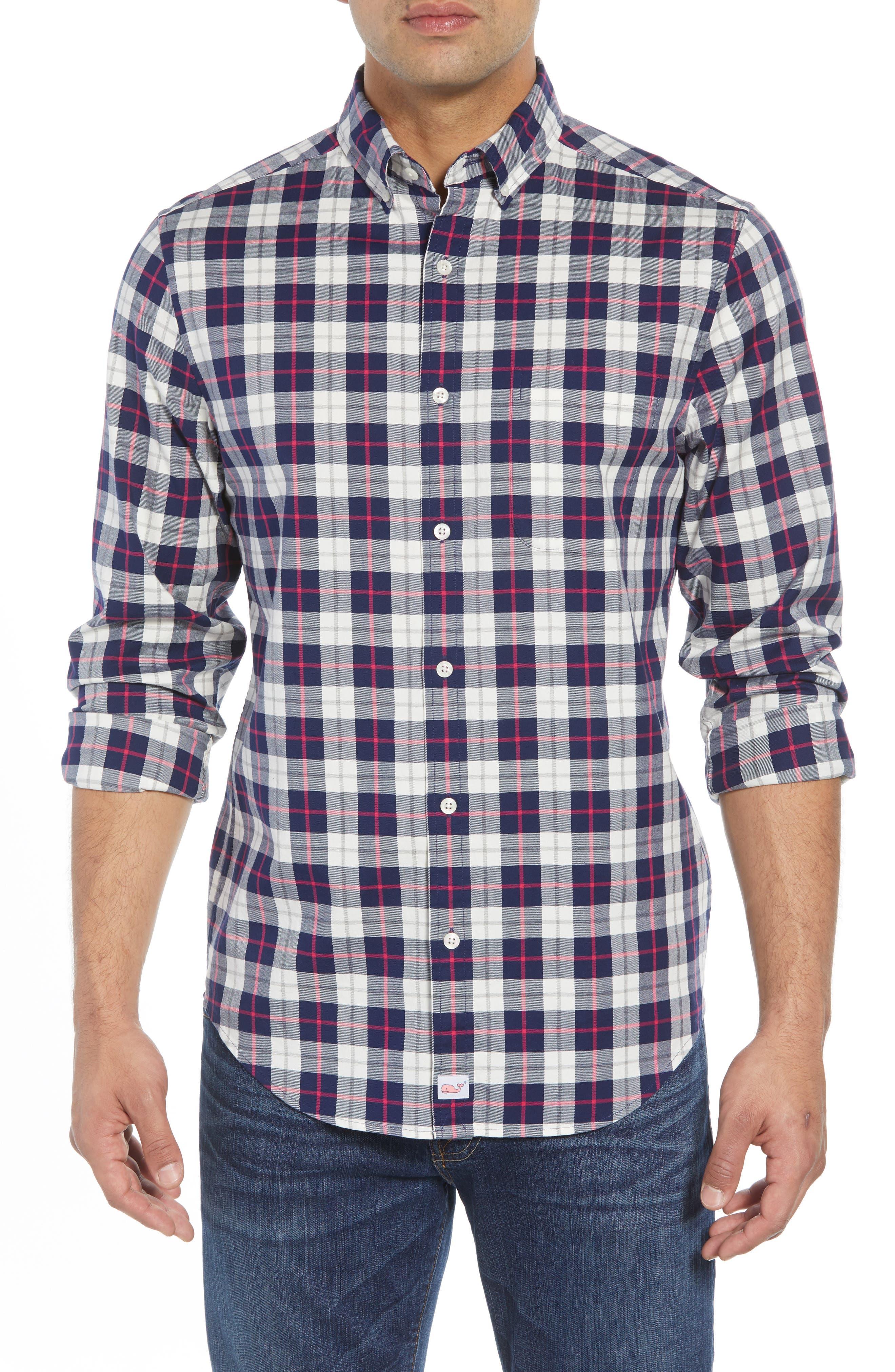 Riverbank Regular Fit Plaid Sport Shirt,                         Main,                         color, KATAMA BAY