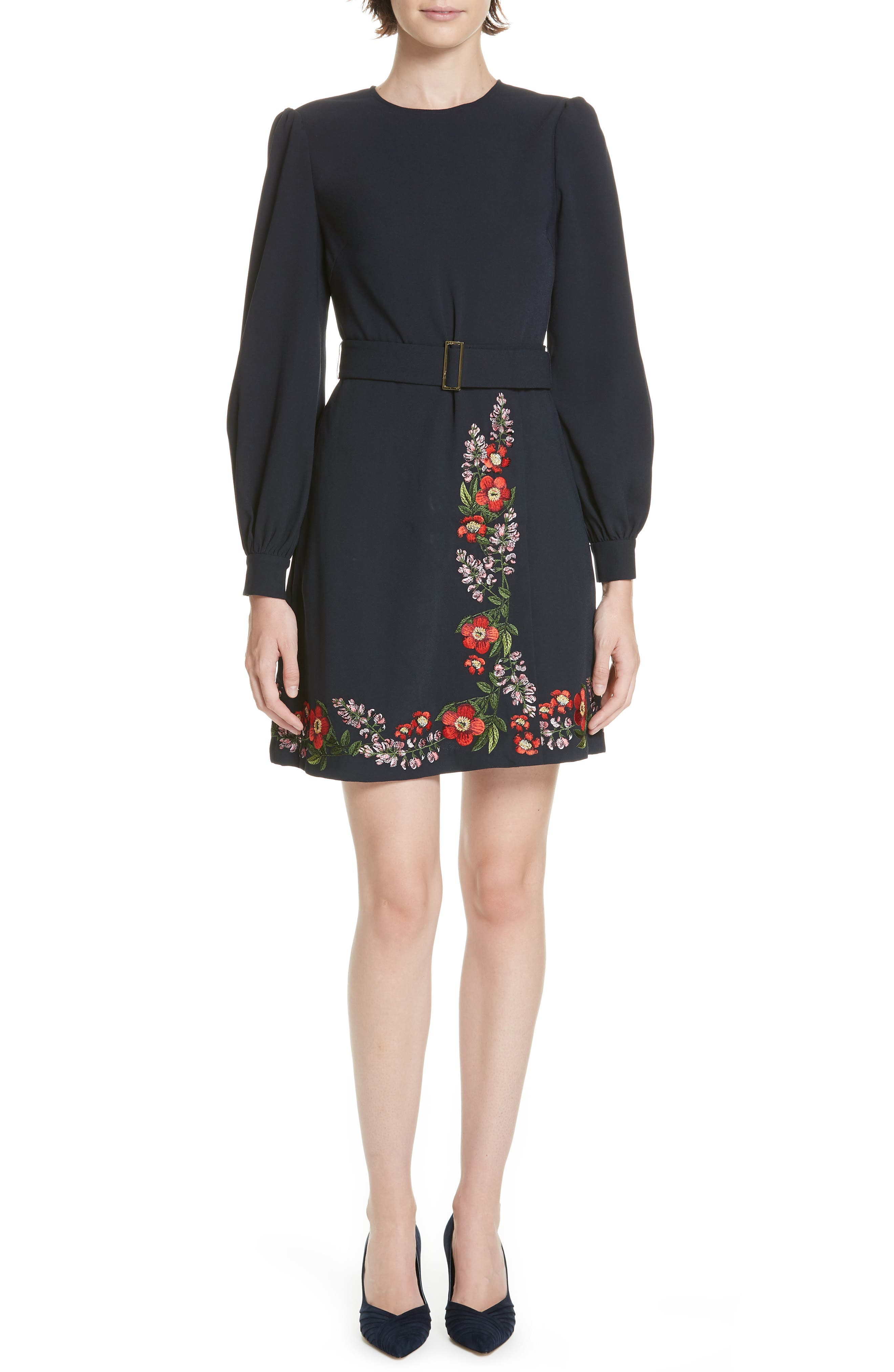 Silia Kirstenbosch Embroidered Dress,                         Main,                         color, DARK BLUE