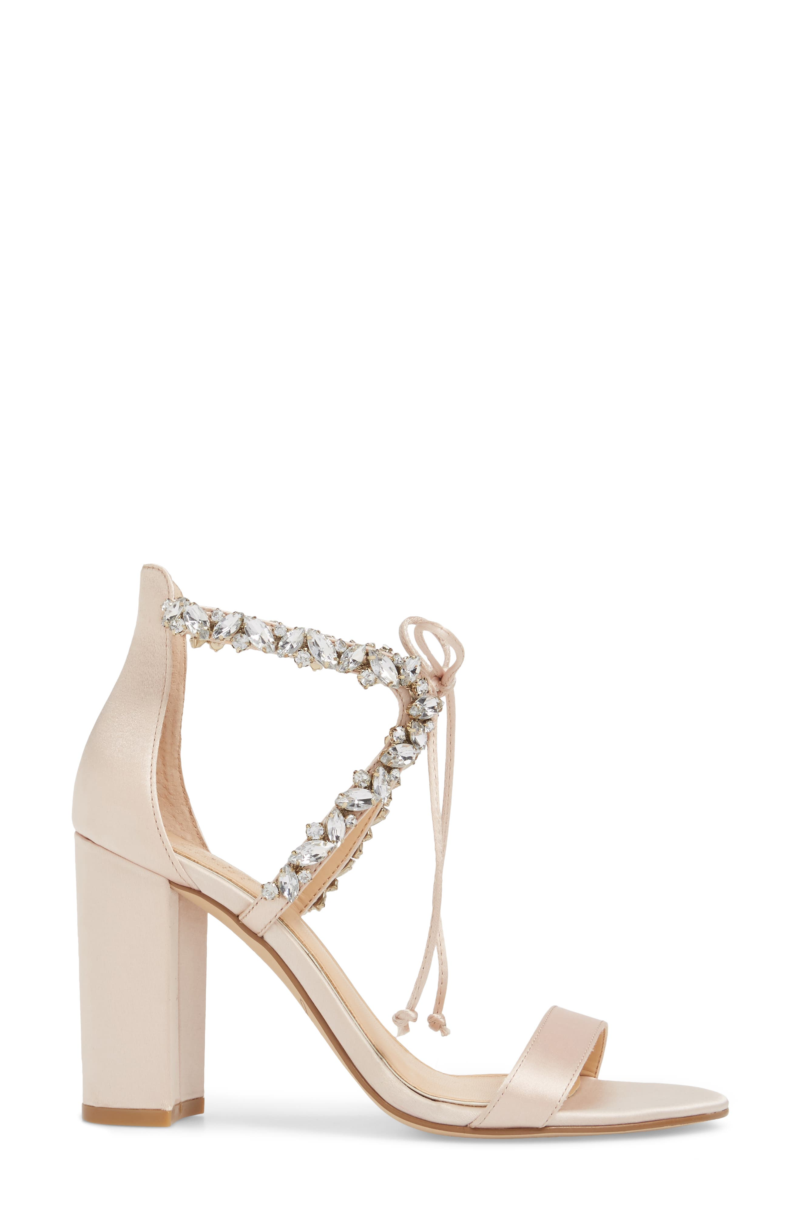 JEWEL BADGLEY MISCHKA,                             Thamar Embellished Sandal,                             Alternate thumbnail 3, color,                             CHAMPAGNE SATIN