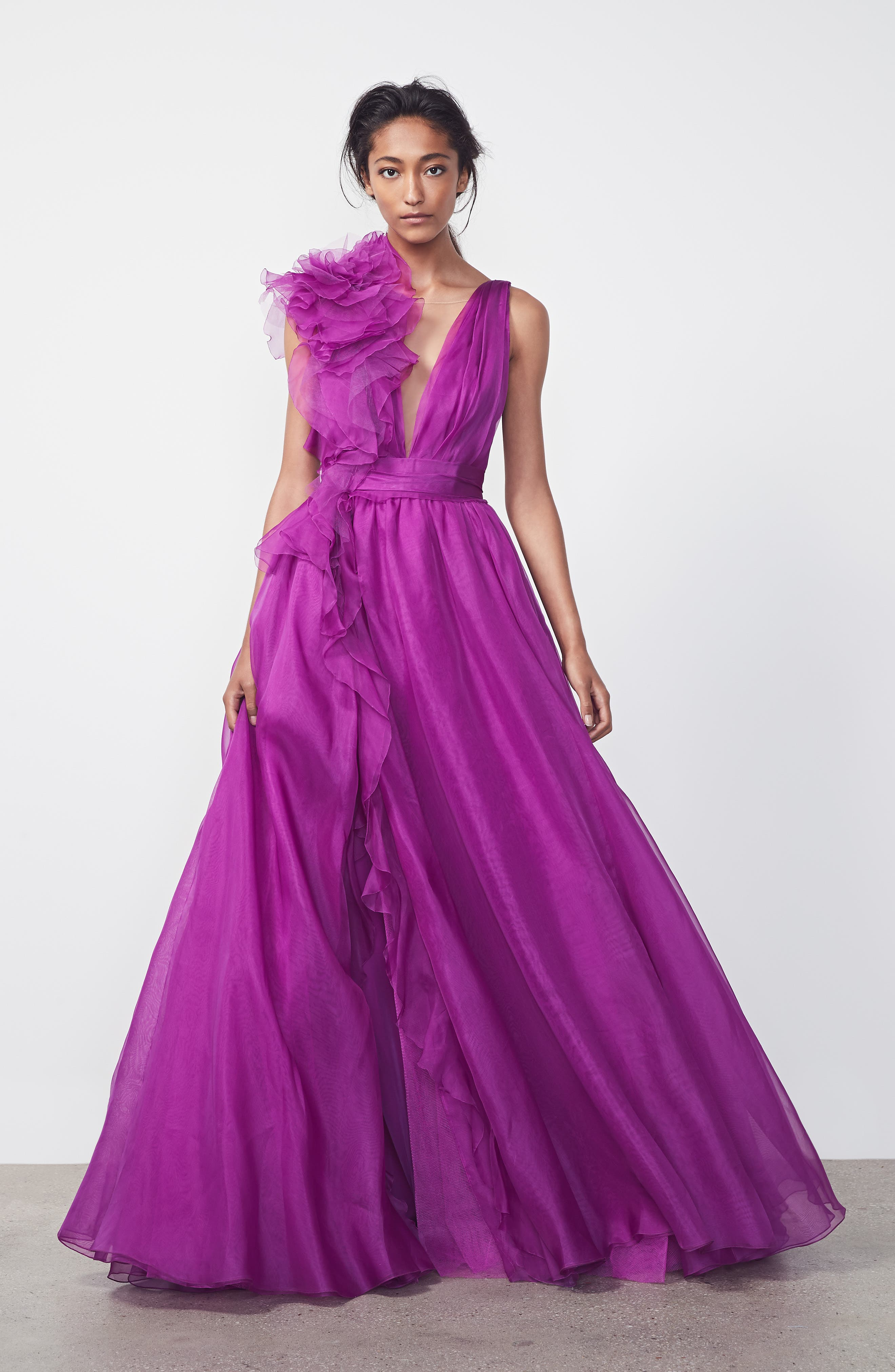 Ruffle Silk Organza Evening Dress,                             Alternate thumbnail 6, color,                             ORCHID