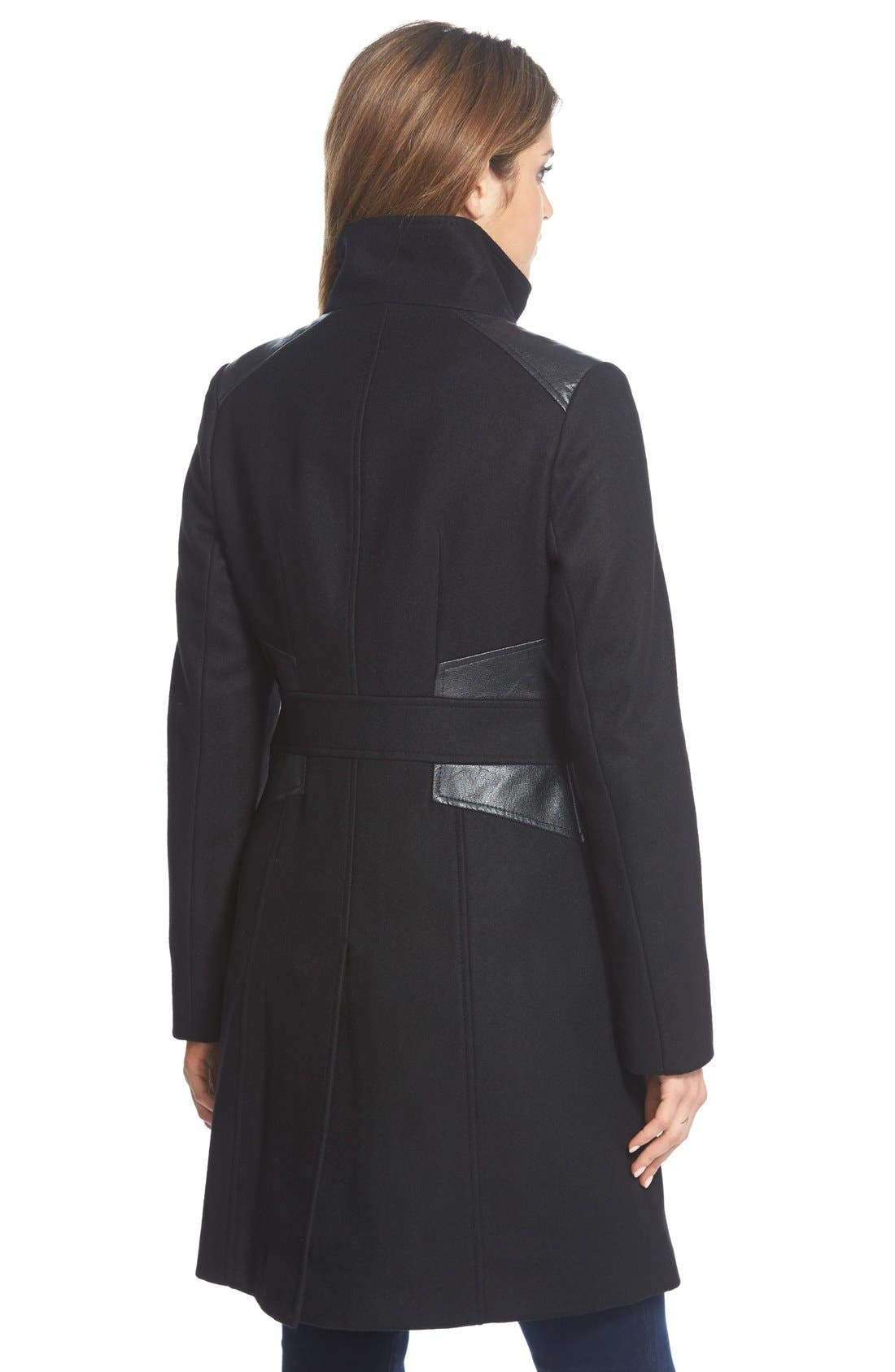 Wool Blend Coat with Faux Leather Trim,                             Alternate thumbnail 3, color,                             001