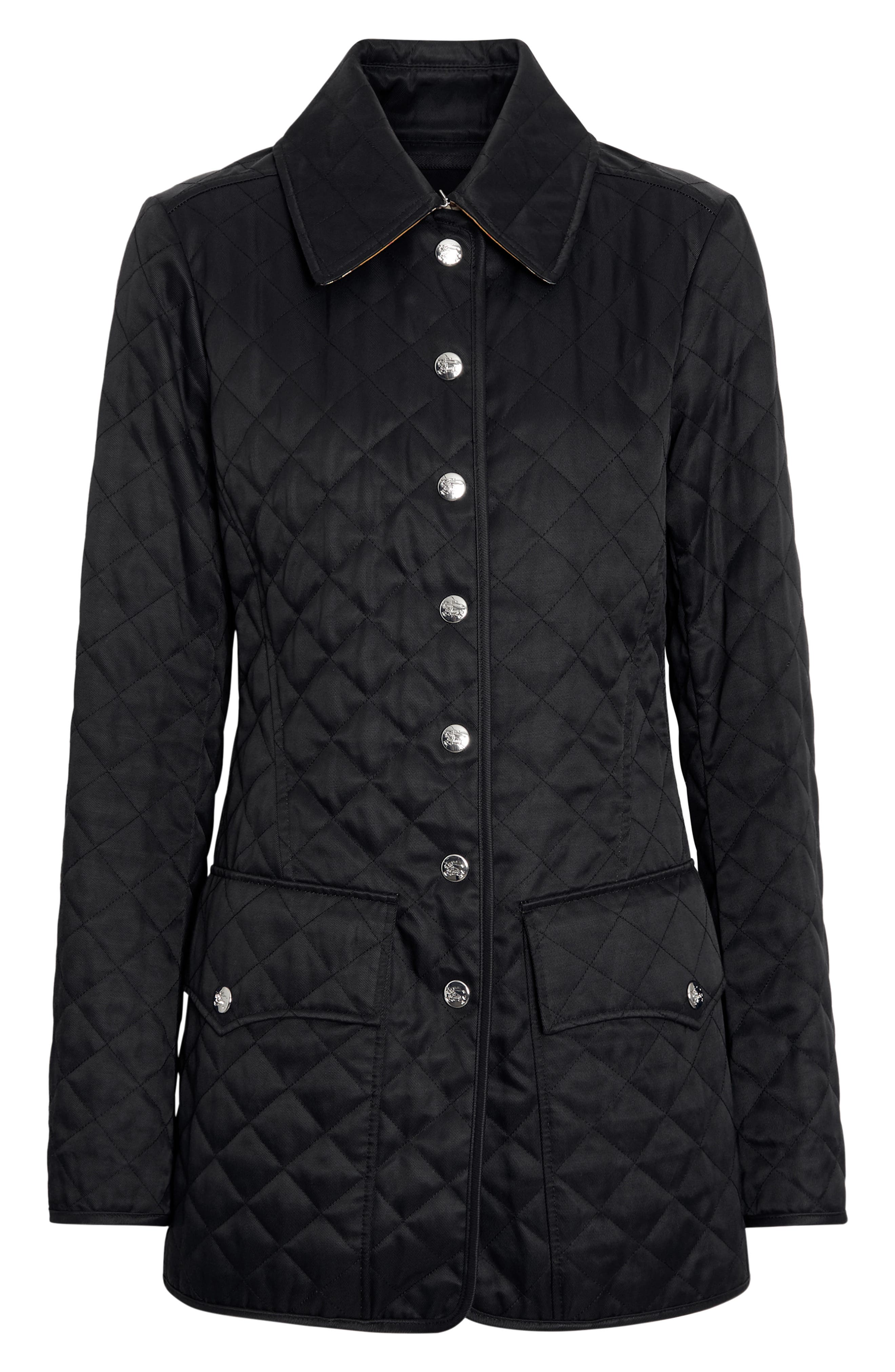 BURBERRY,                             Borthwicke Quilted Jacket,                             Alternate thumbnail 5, color,                             BLACK