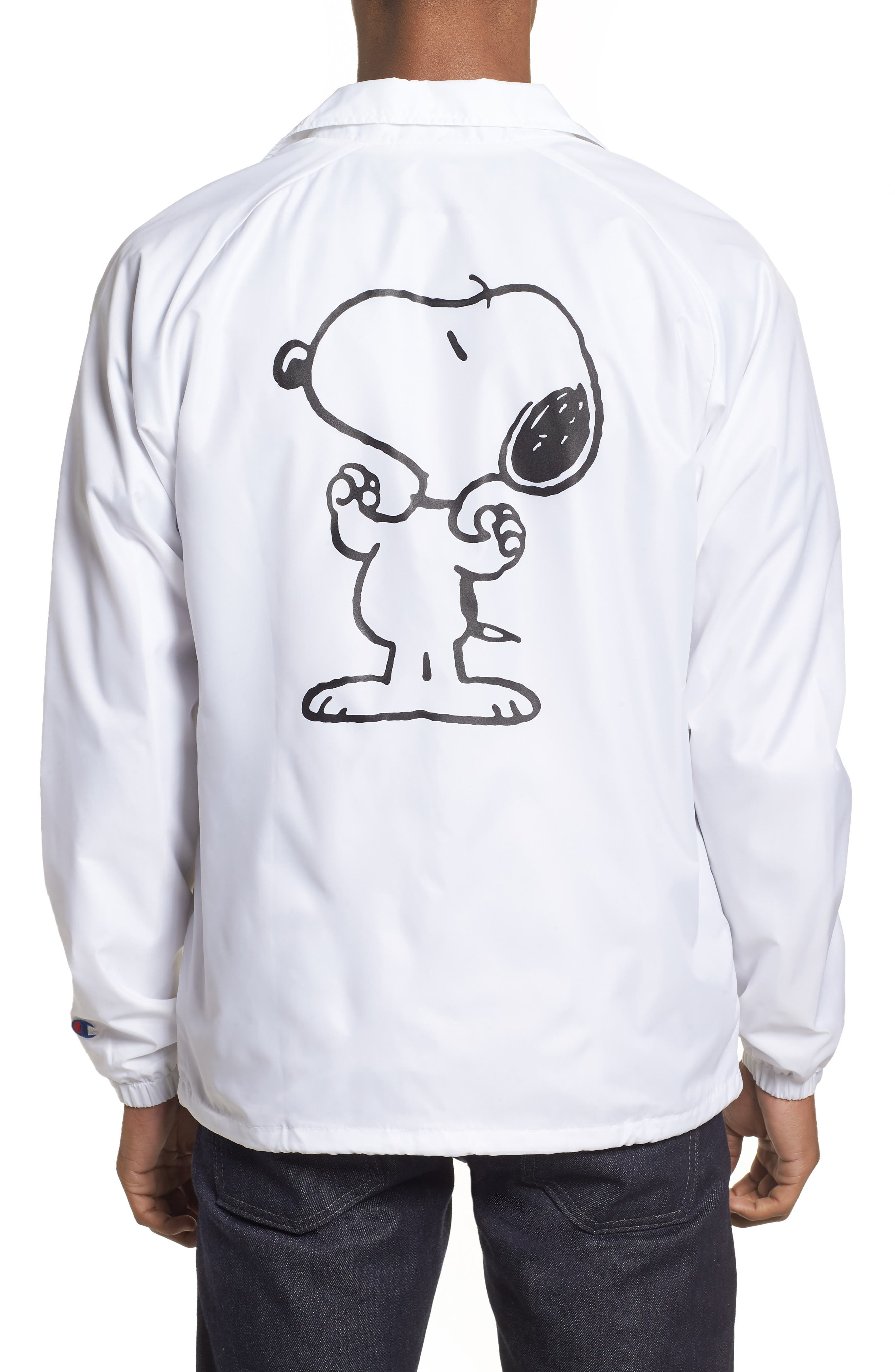 Snoopy Unisex Coach's Jacket,                             Alternate thumbnail 2, color,                             WHITE