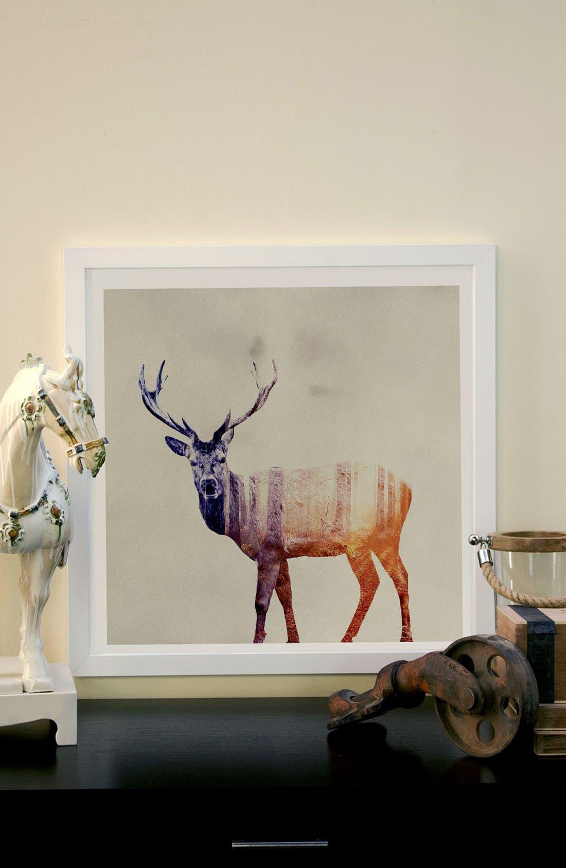 'Deer' Framed Paper Print,                             Alternate thumbnail 2, color,                             BROWN