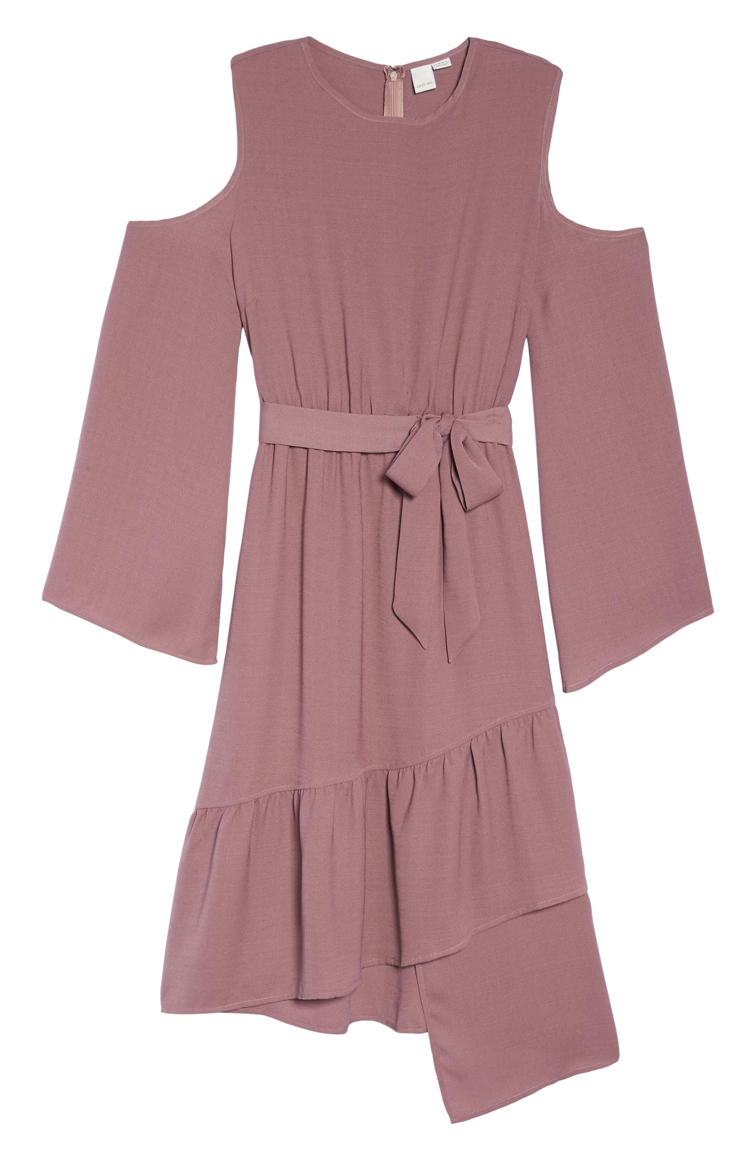 Cold Shoulder A-Line Dress,                             Alternate thumbnail 6, color,