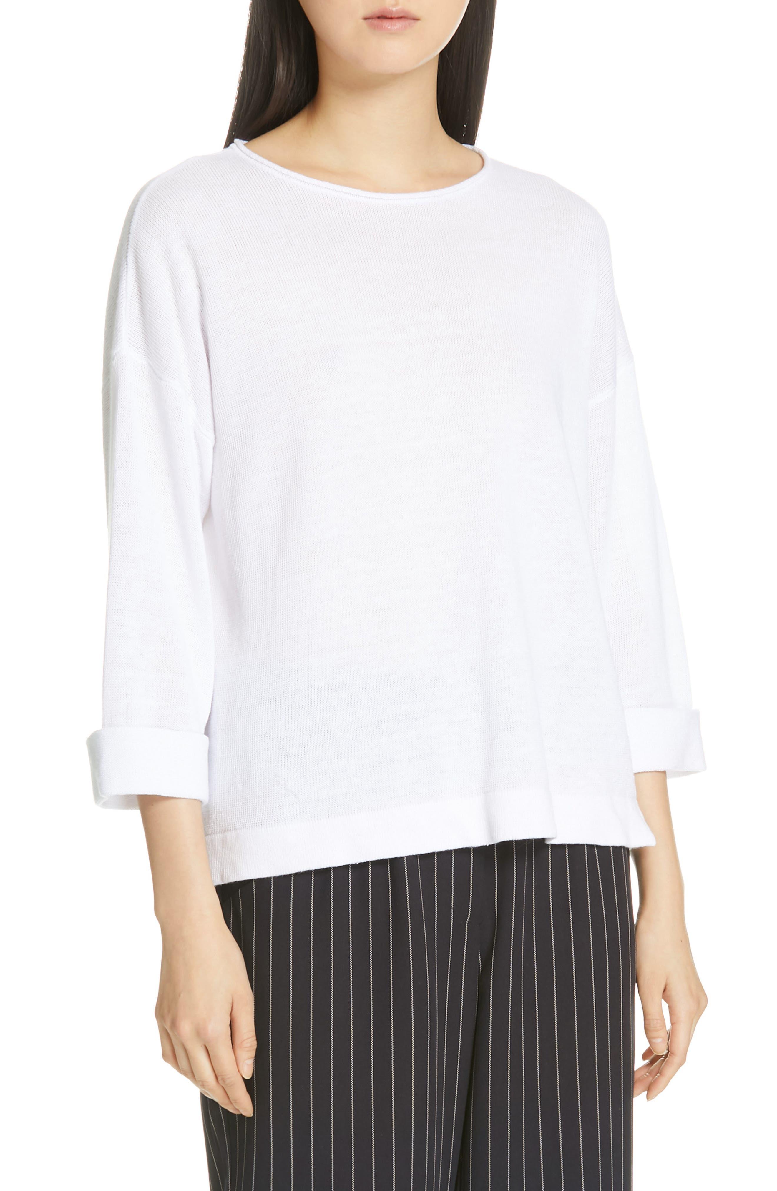 Eileen Fisher Round Neck Organic Linen Top, White