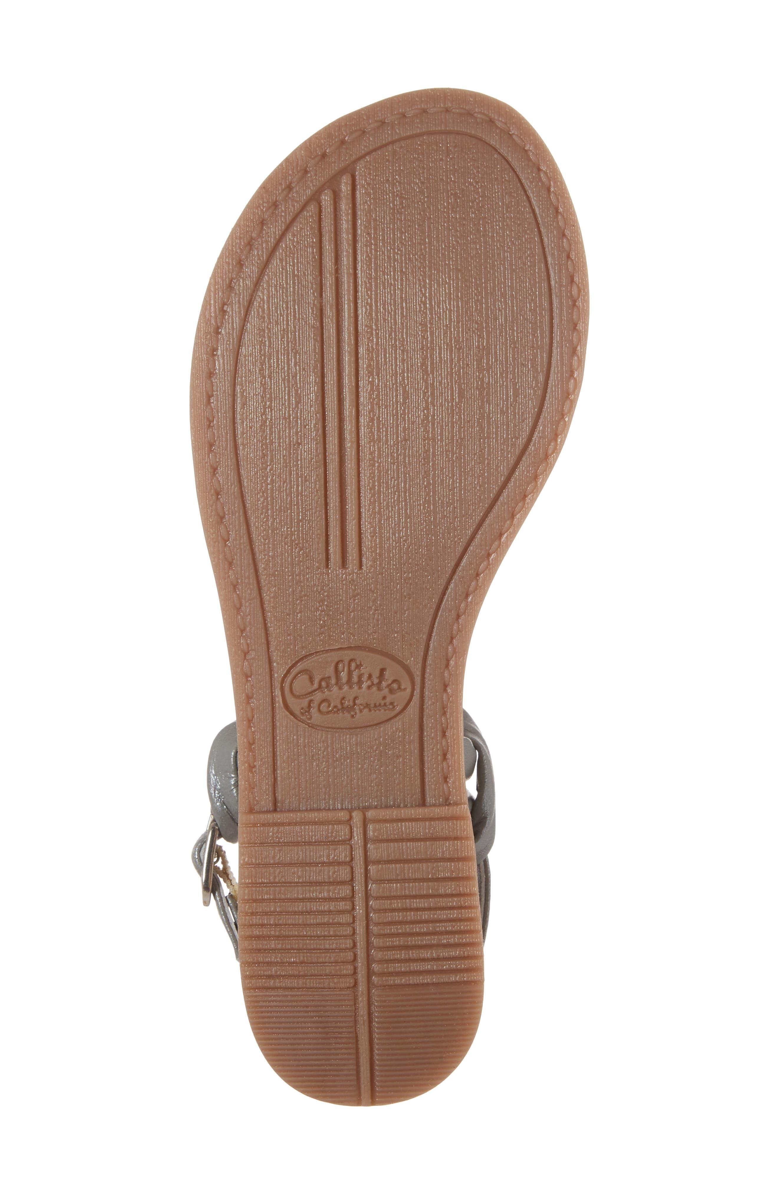 Azza T-Strap Sandal,                             Alternate thumbnail 6, color,                             PEWTER LEATHER