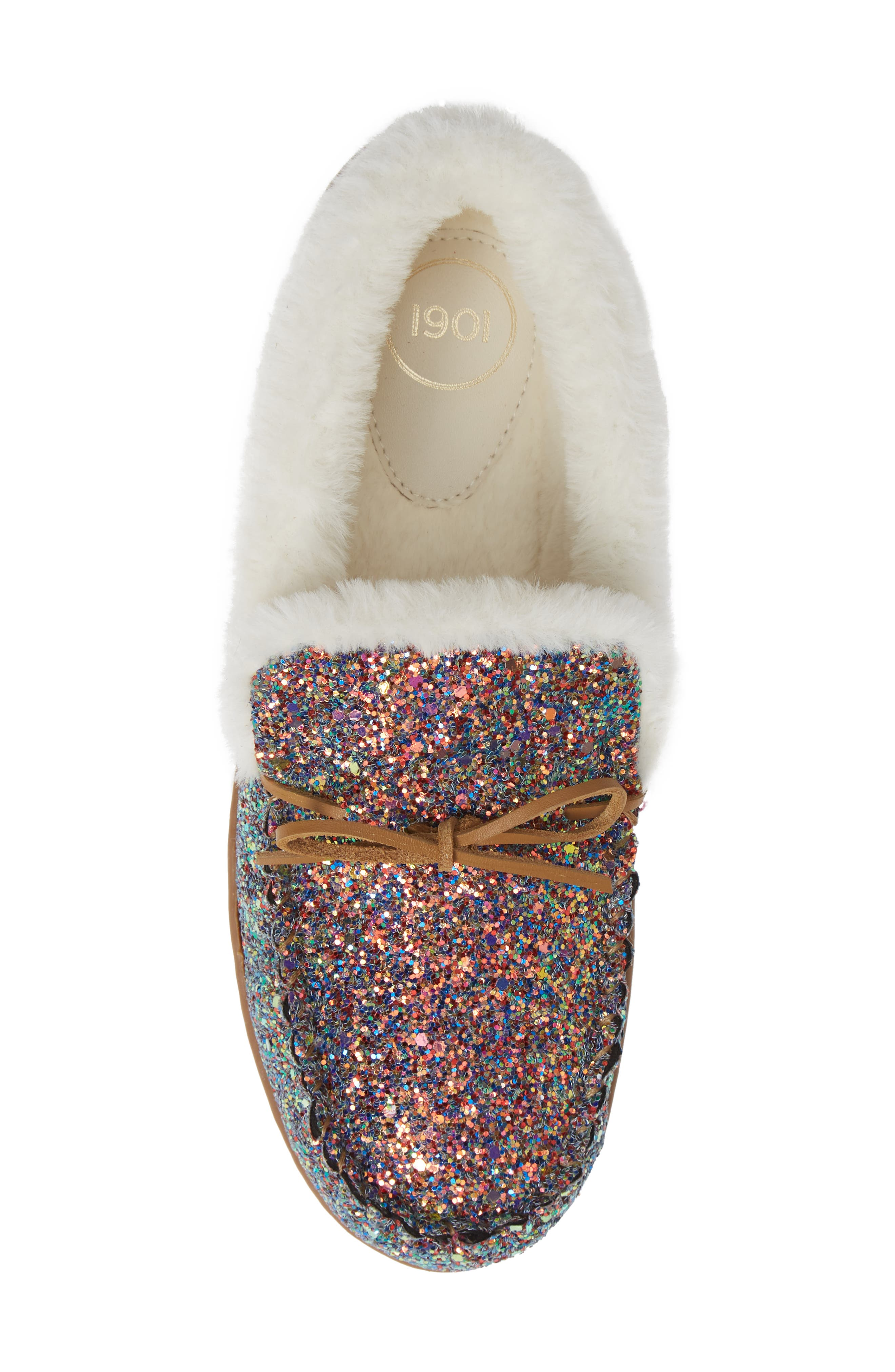 Poppy Moc Slipper,                             Alternate thumbnail 5, color,                             PINK MULTI GLITTER
