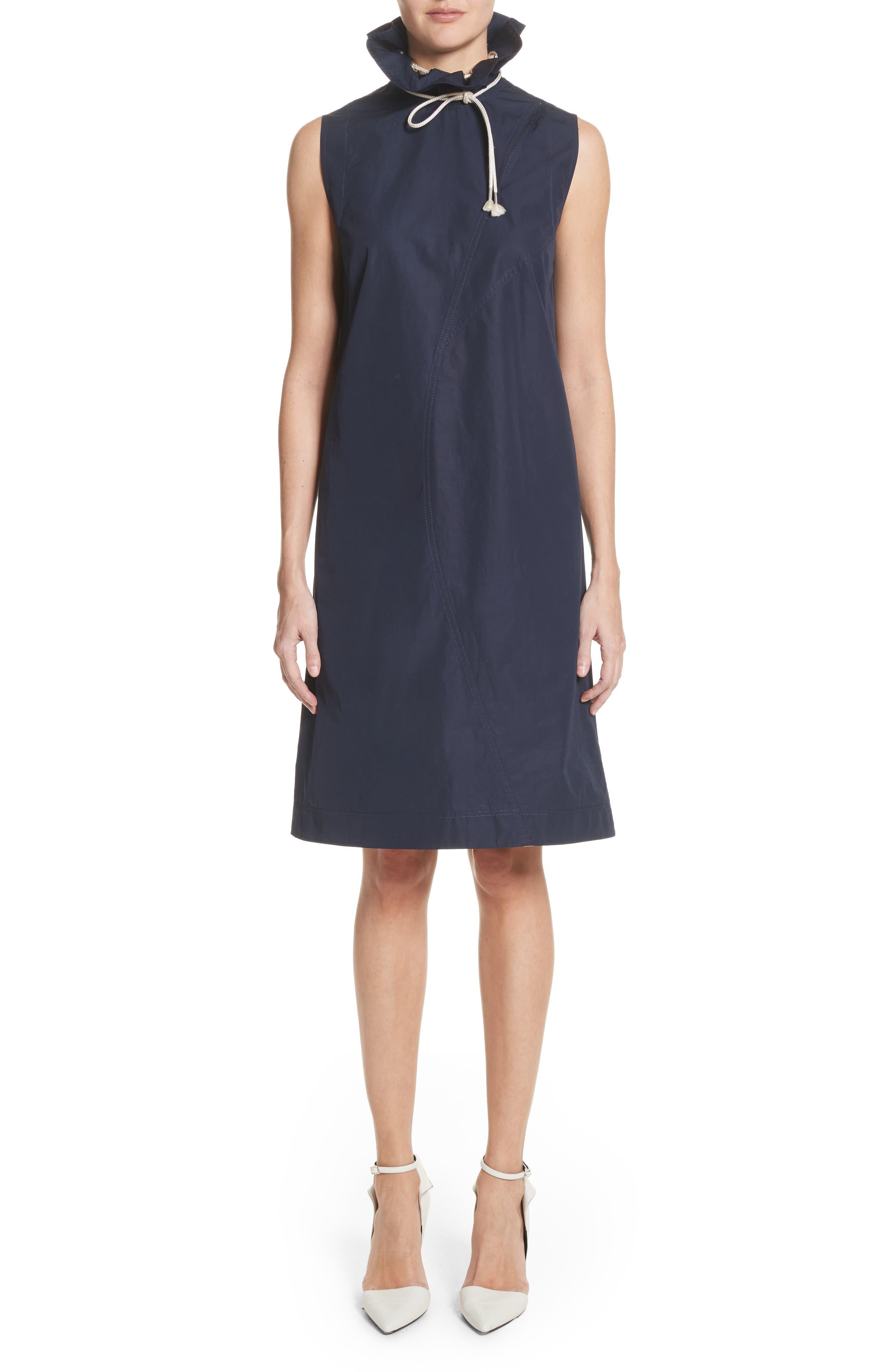 Ruffle Neck Poplin Dress,                         Main,                         color, 404