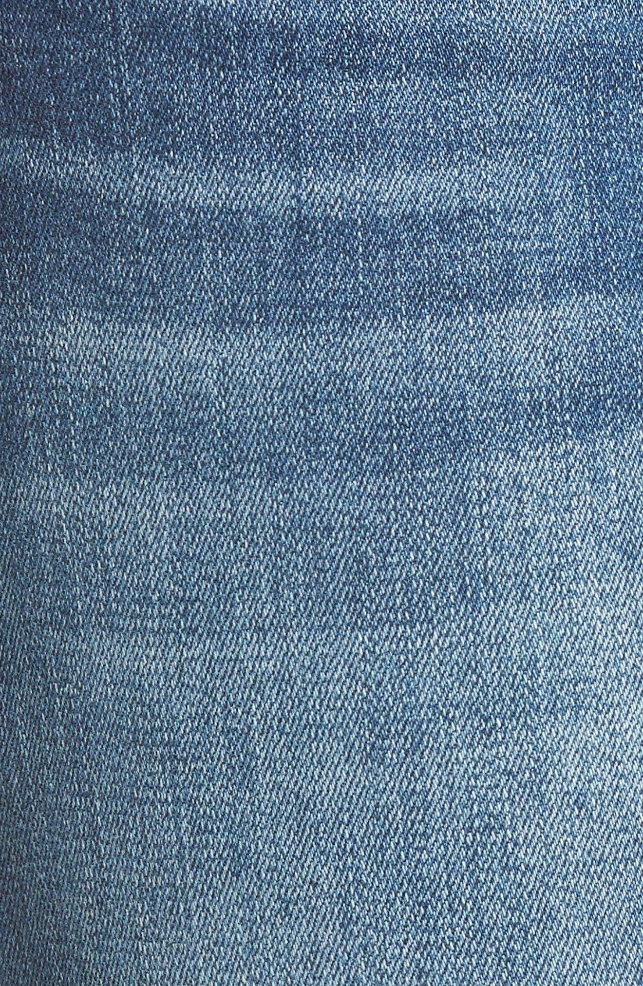 Ripped Step Hem Skinny Jeans,                             Alternate thumbnail 5, color,                             420