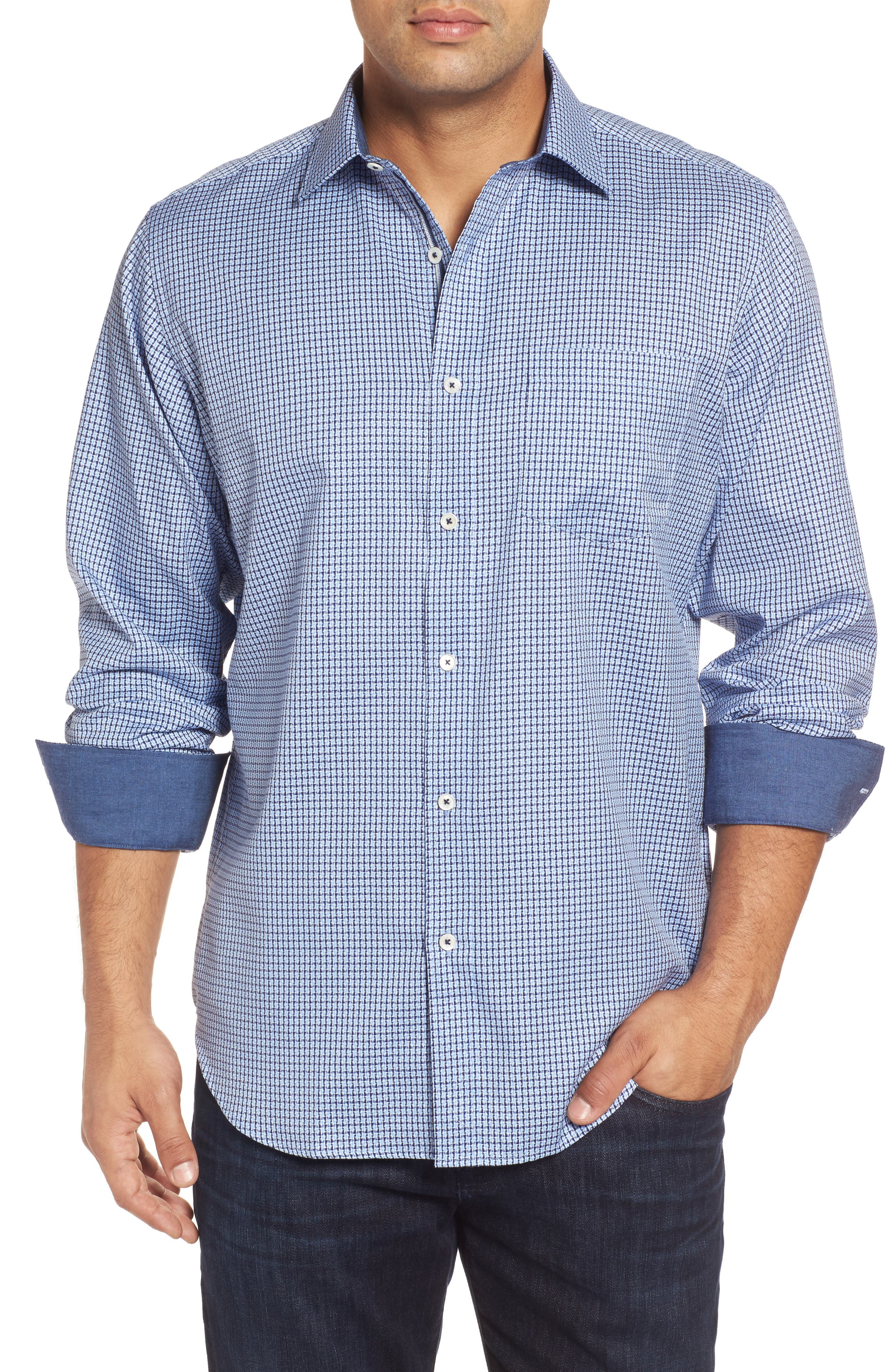 Classic Fit Micro Grid Sport Shirt,                             Main thumbnail 1, color,                             423