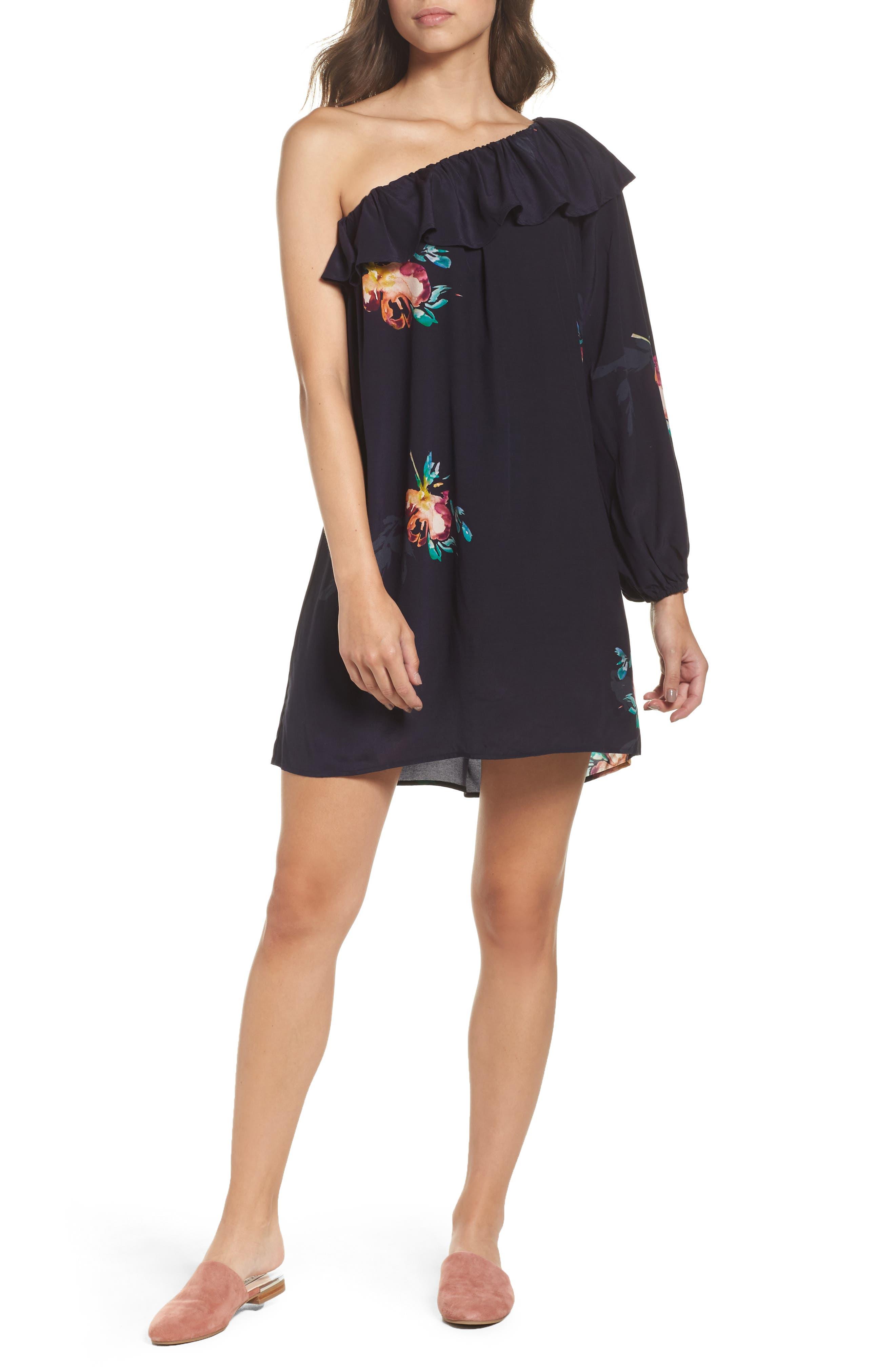 Delphine One-Shoulder Dress,                             Main thumbnail 1, color,                             421