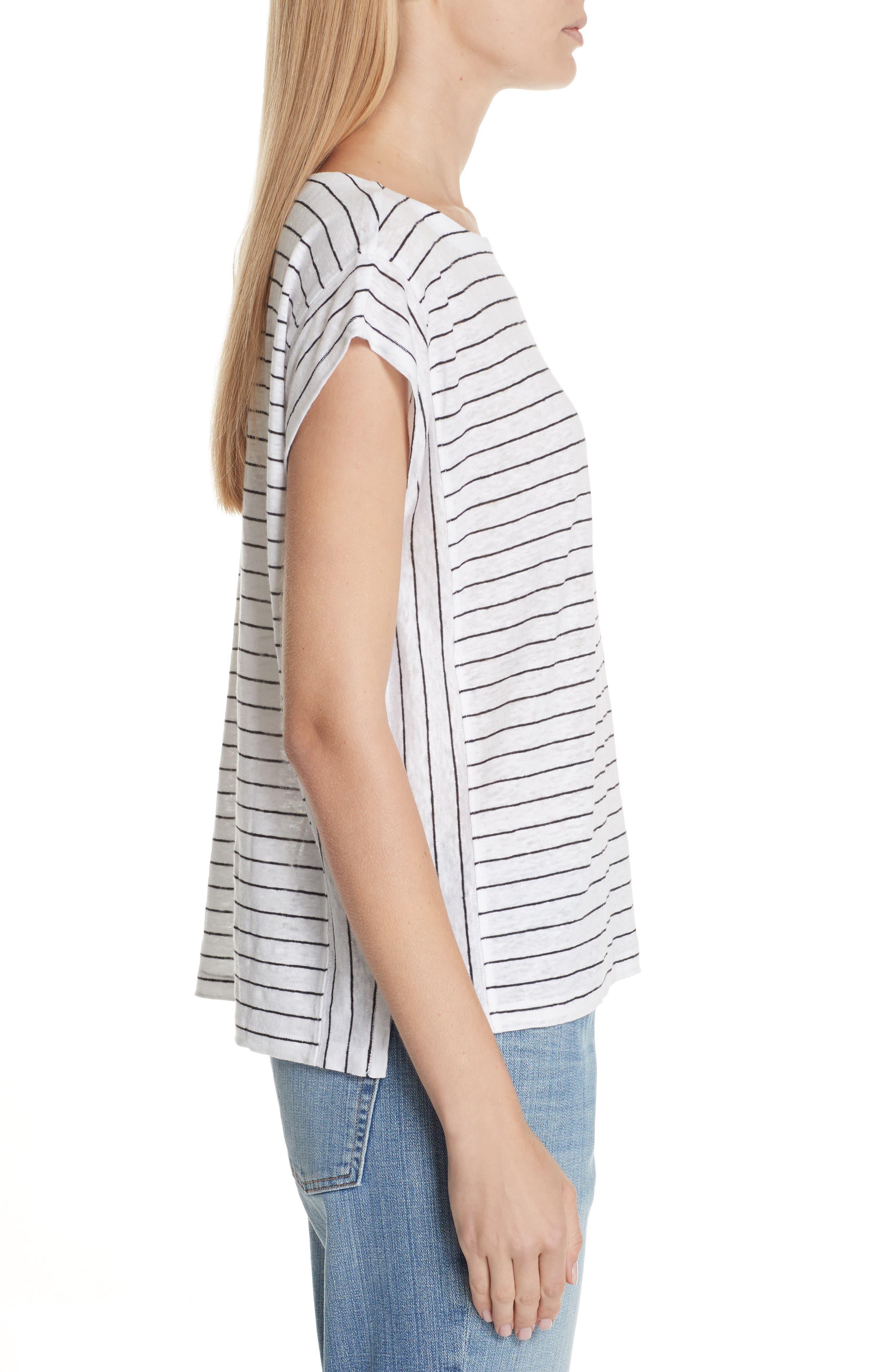 Stripe Organic Linen Top,                             Alternate thumbnail 3, color,                             120