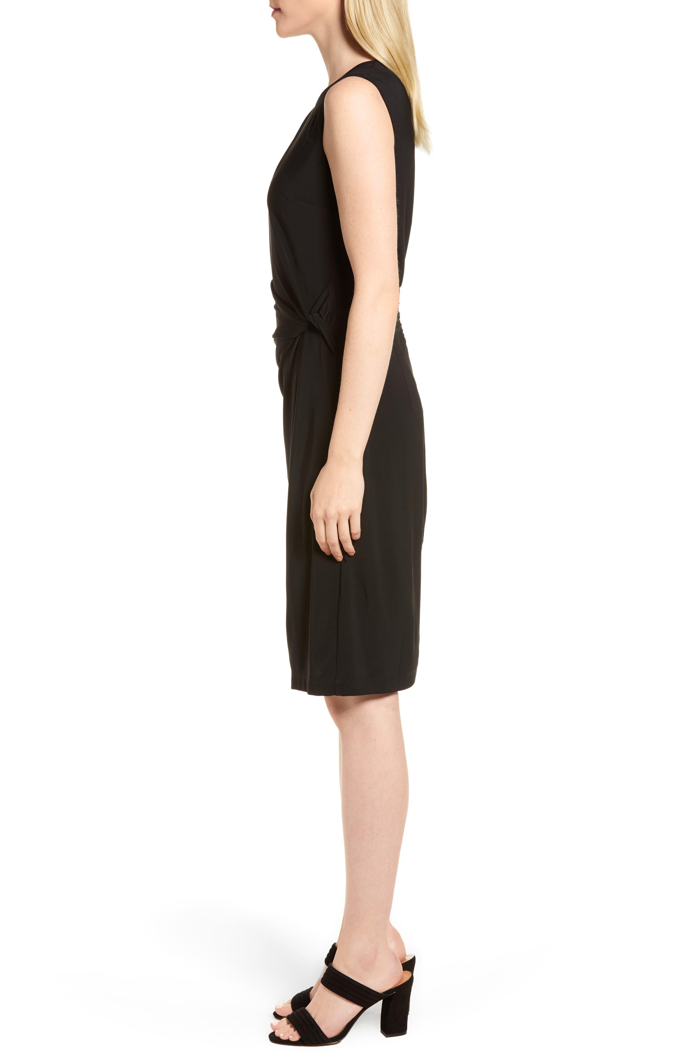 Twist Side Matte Jersey Dress,                             Alternate thumbnail 3, color,                             004