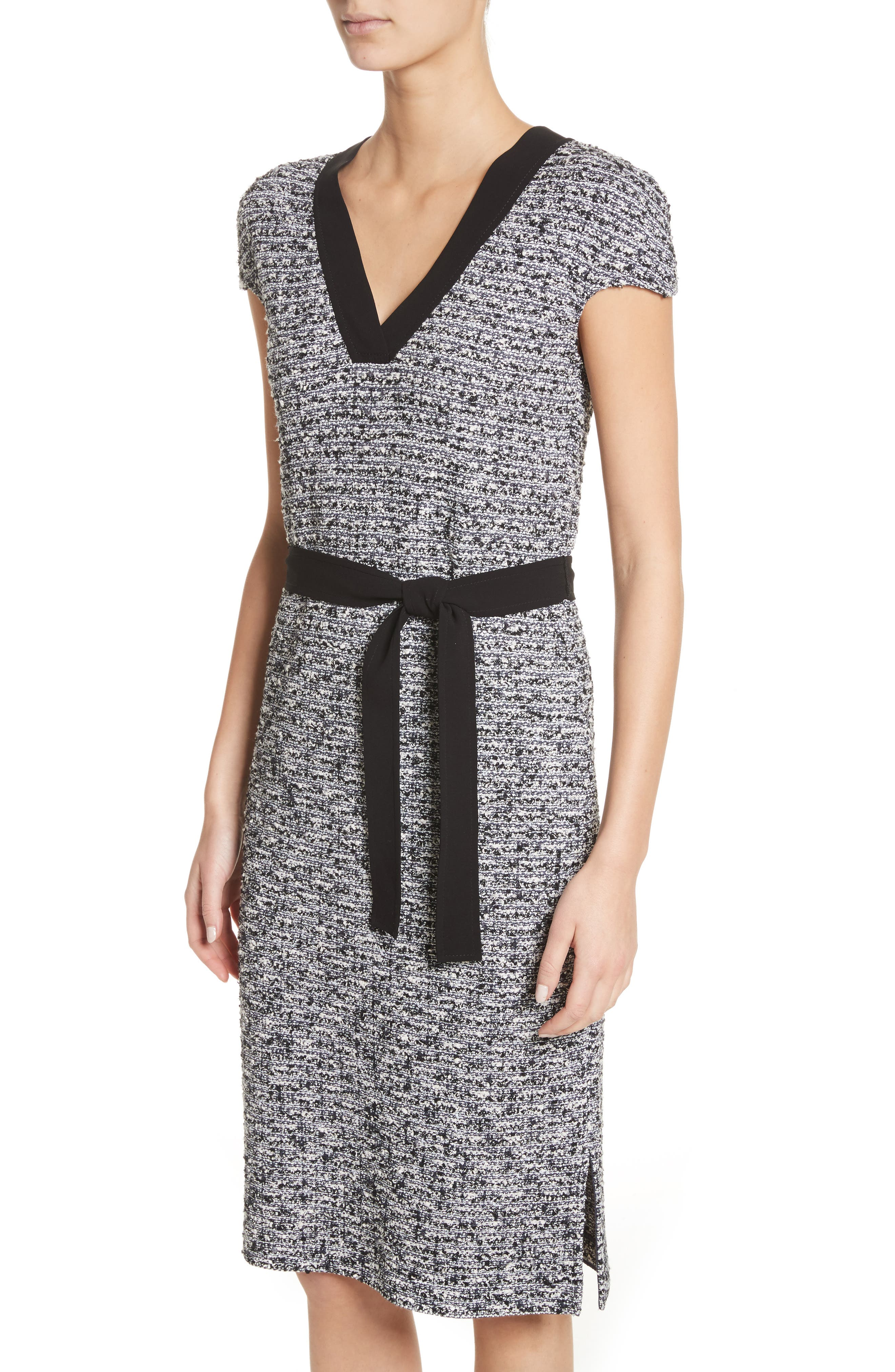 Micro Tweed Belted Dress,                             Alternate thumbnail 4, color,                             001