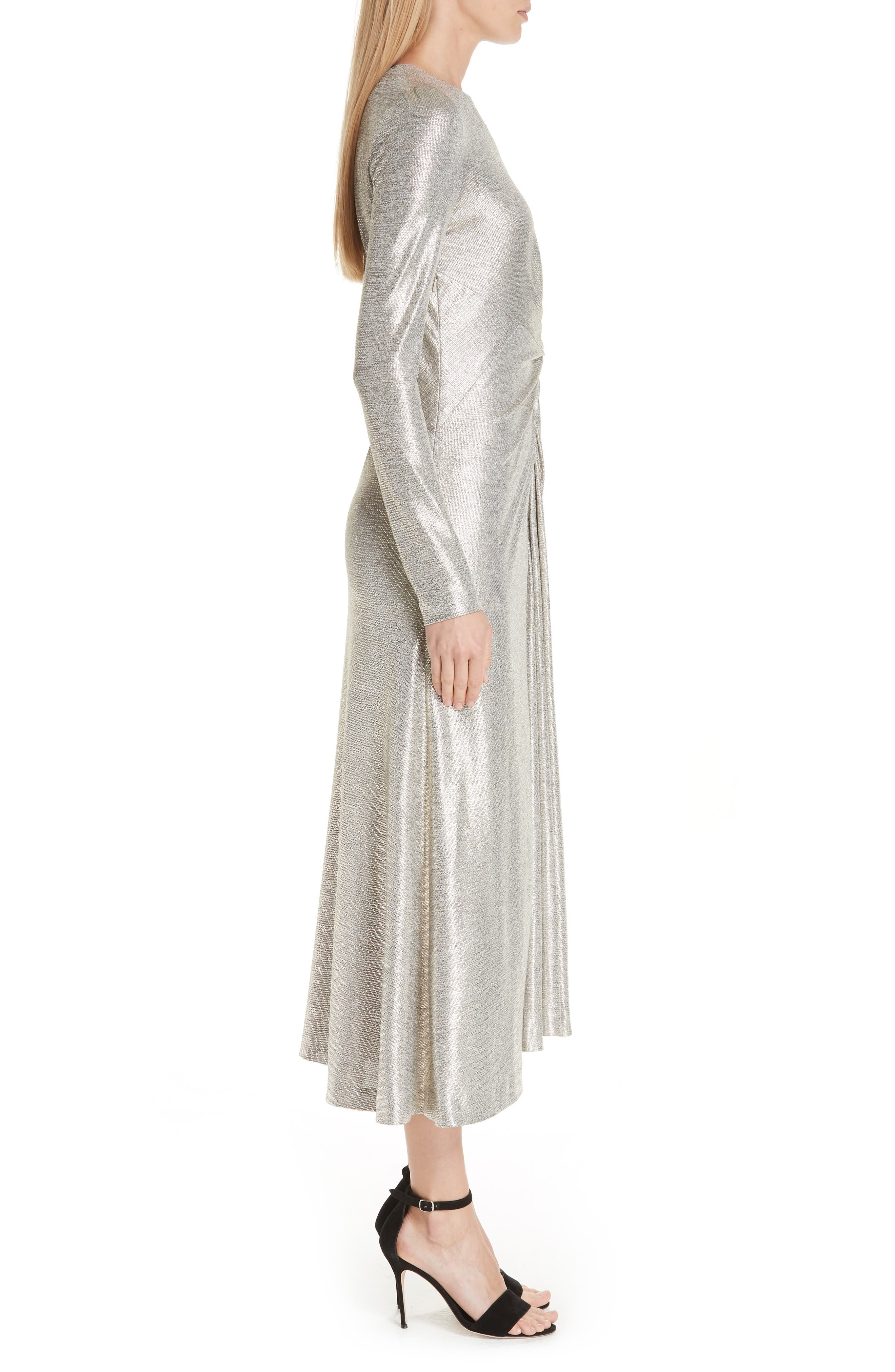 Twist Detail Metallic Dress,                             Alternate thumbnail 3, color,                             PLATINUM
