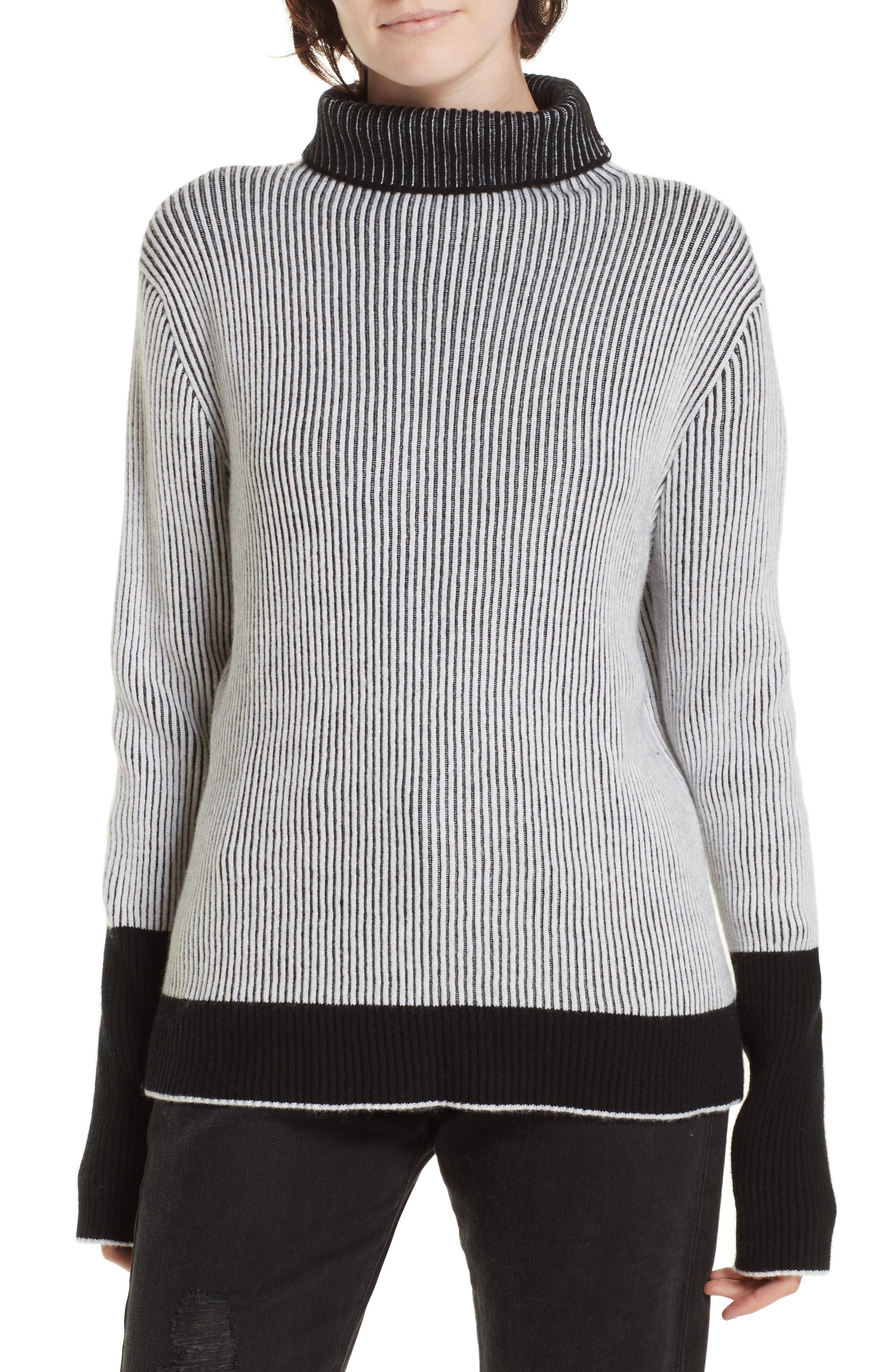 LA LIGNE Aaa Turtleneck Cashmere Sweater in Cream/ Black