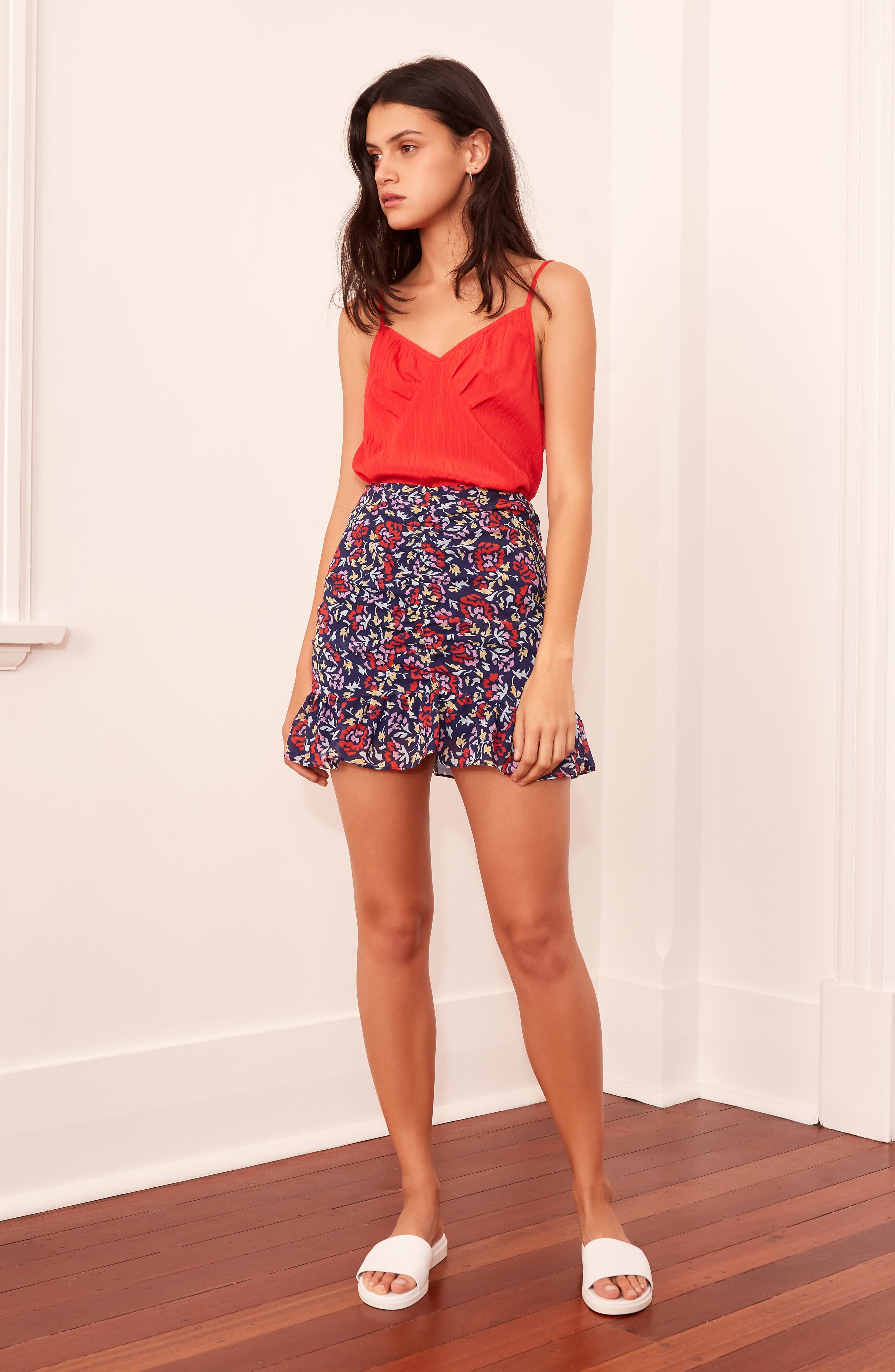 THE FIFTH LABEL,                             Ruched Floral Print Miniskirt,                             Alternate thumbnail 7, color,                             NAVY/ SCARLET WATERCOLOR