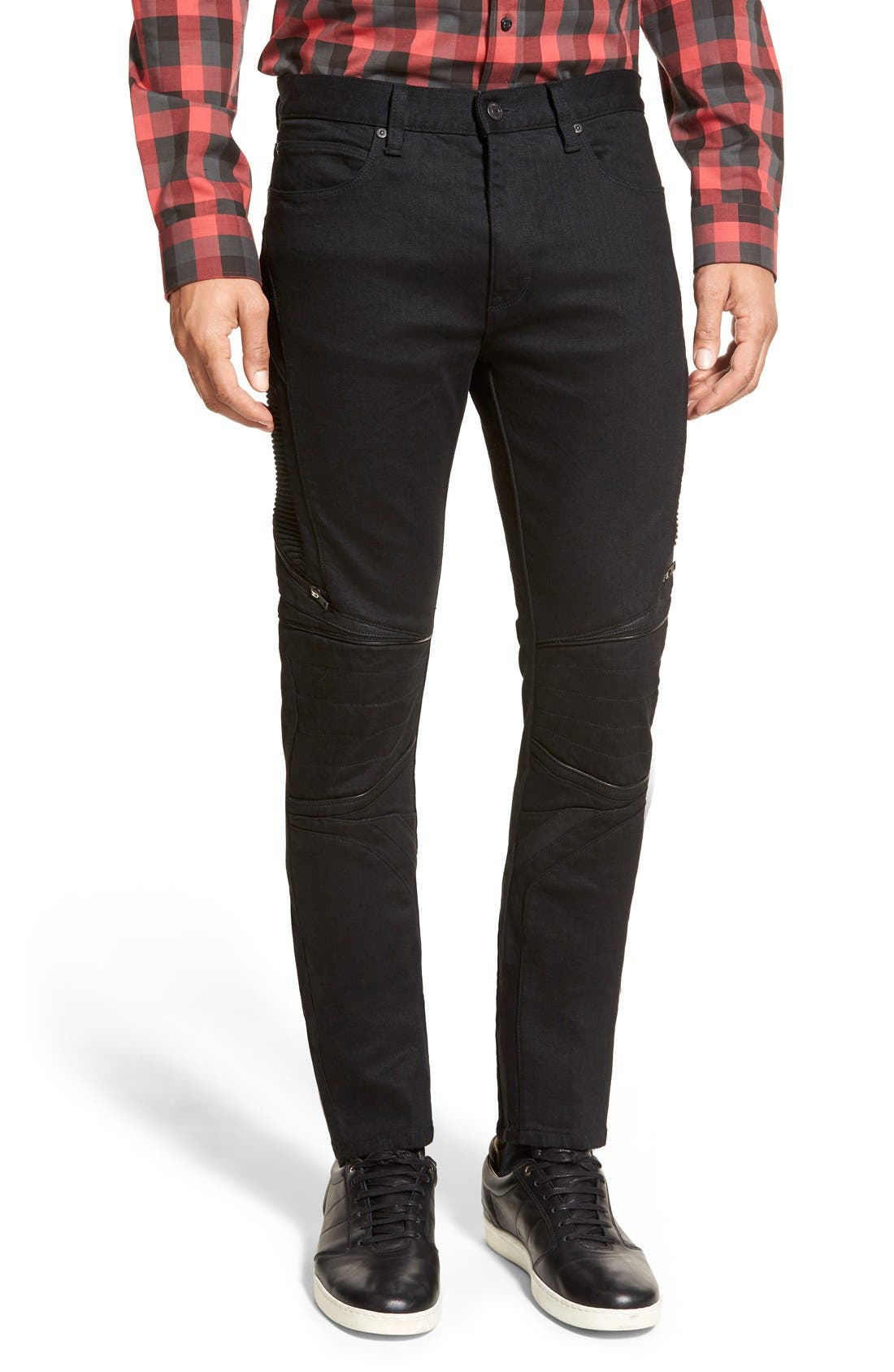 ZZDNUHUGO BOSS HUGO '734/24' Skinny Fit Moto Jeans, Main, color, 001